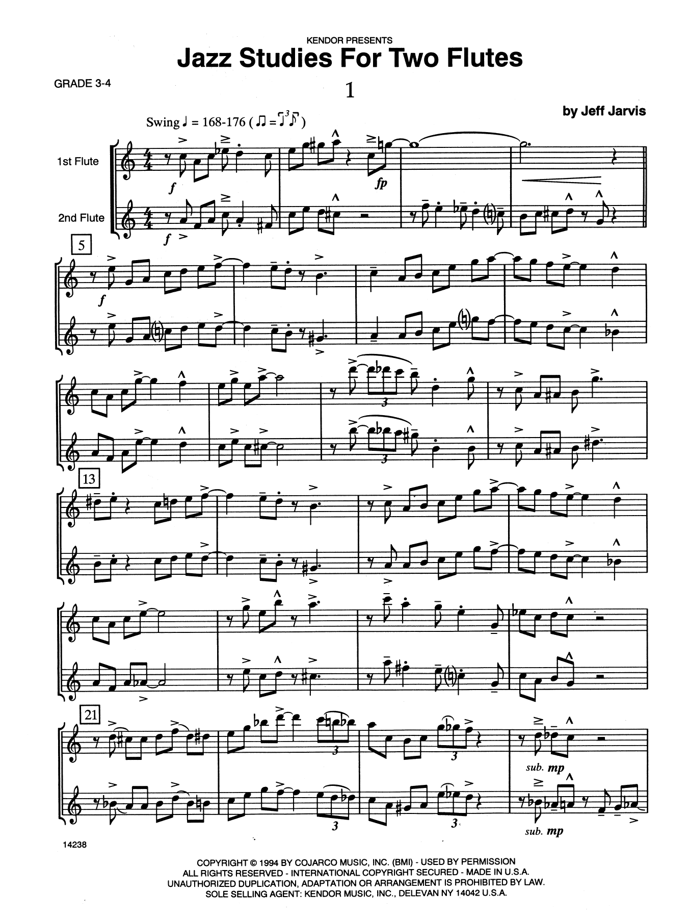 Jazz Studies For Two Flutes, Volume 1 Sheet Music