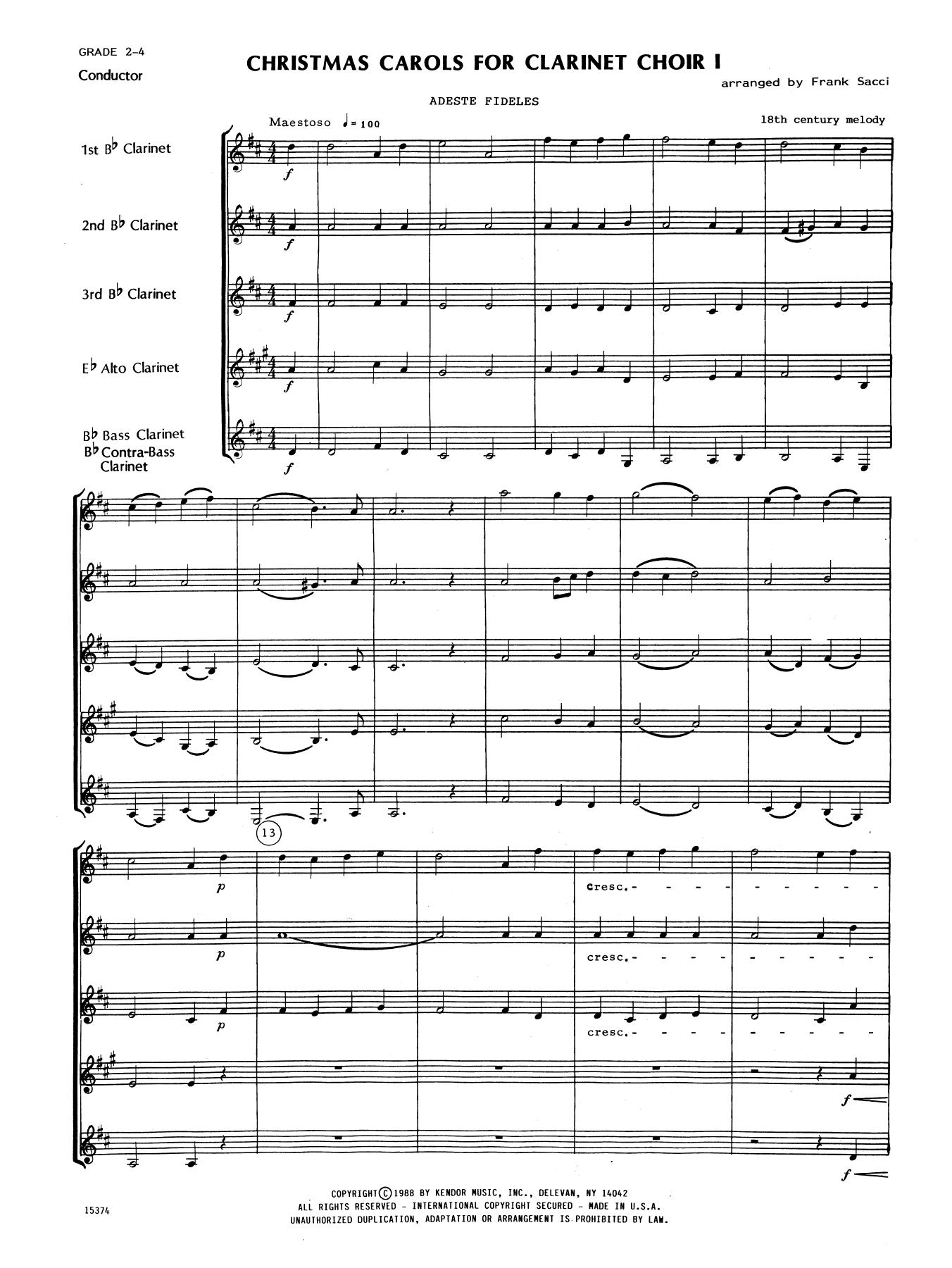 Christmas Carols Sheet Music.Christmas Carols For Clarinet Choir I Full Score By Frank Sacci Woodwind Ensemble Digital Sheet Music