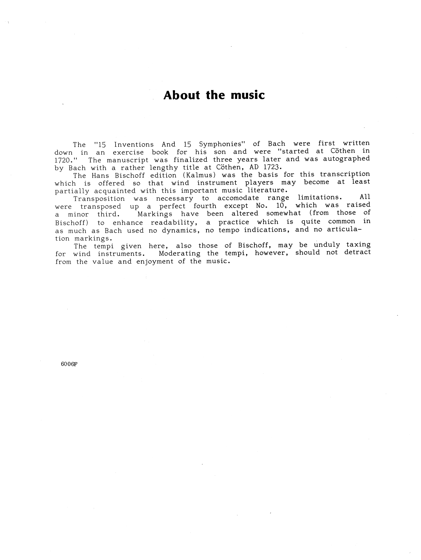 5 Two-Part Inventions Sheet Music