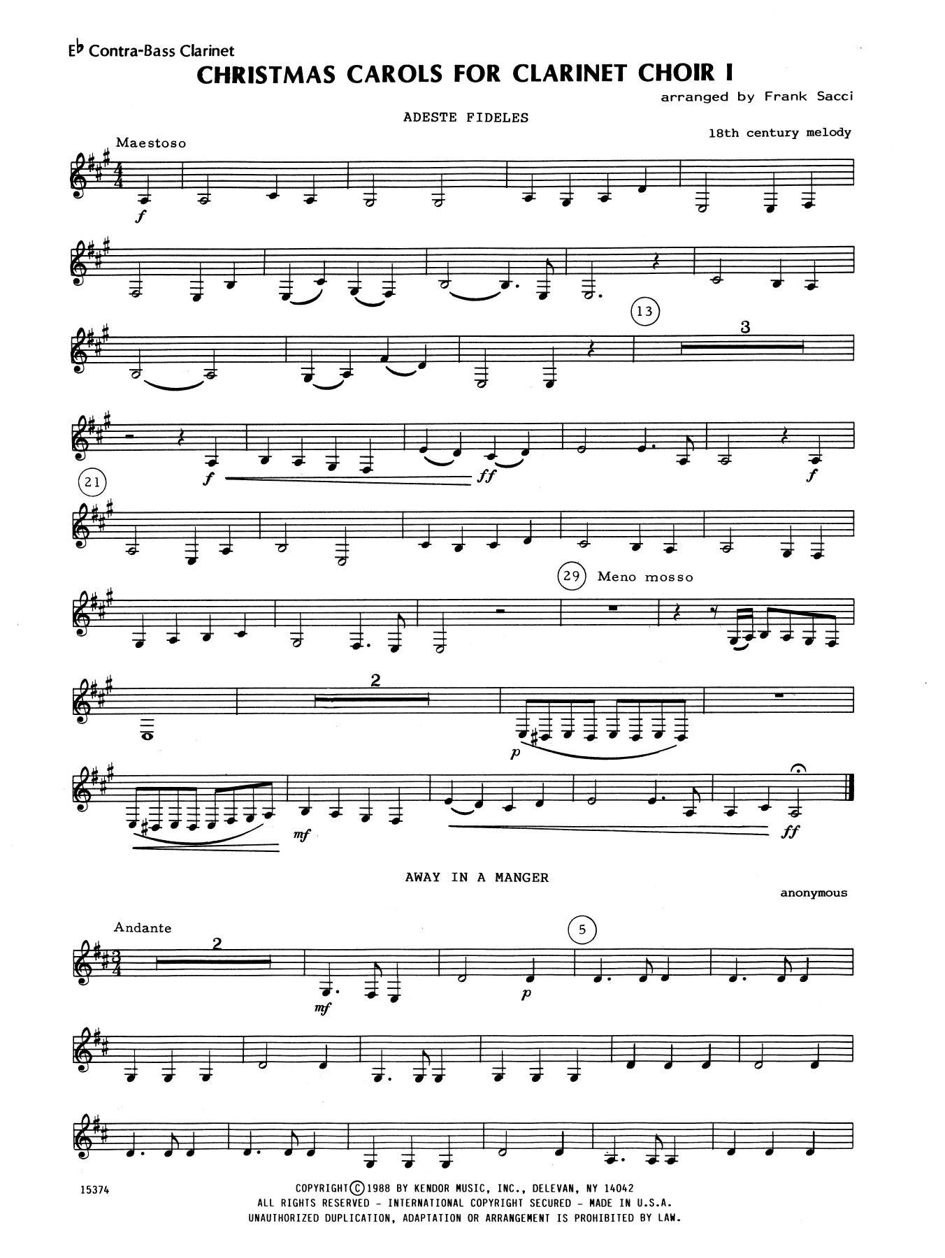 Clarinet Sheet Music Christmas.Christmas Carols For Clarinet Choir I Bb Contra Bass Clarinet By Frank Sacci Woodwind Ensemble Digital Sheet Music