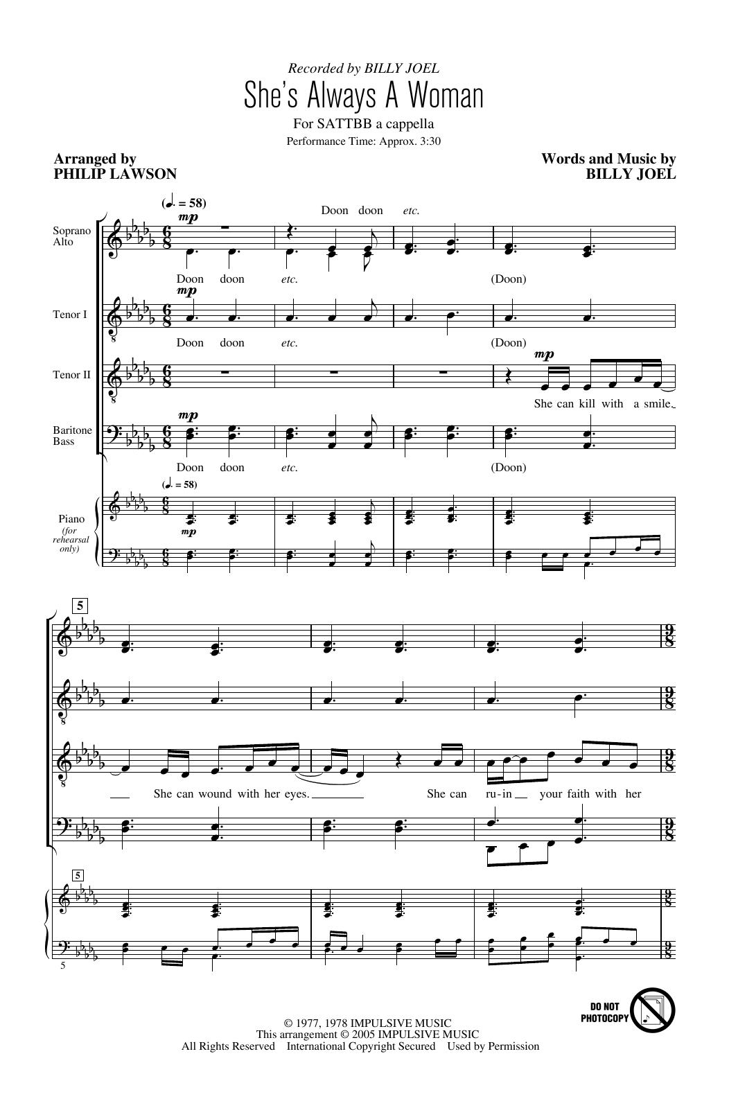 She's Always A Woman (arr. Philip Lawson) (SATB Choir)