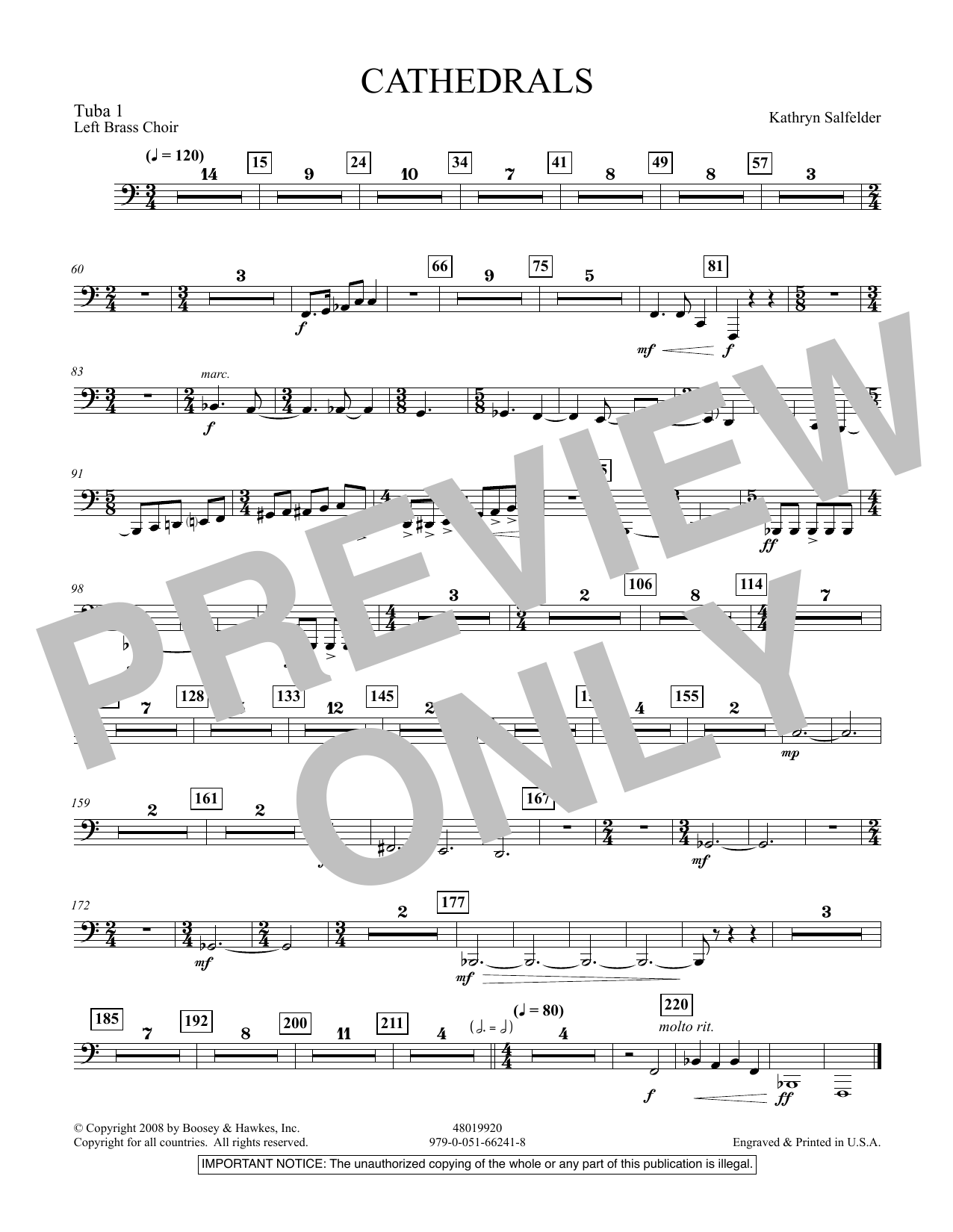 Cathedrals - Tuba 1 (Concert Band)