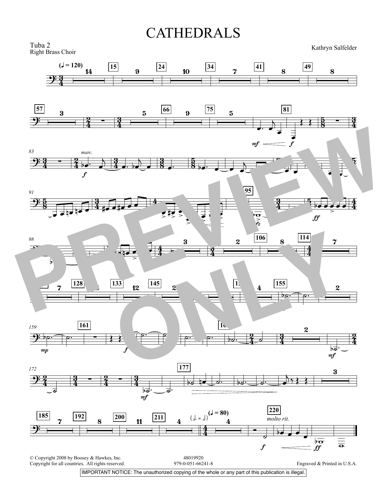 Cathedrals - Tuba 2 (Concert Band)