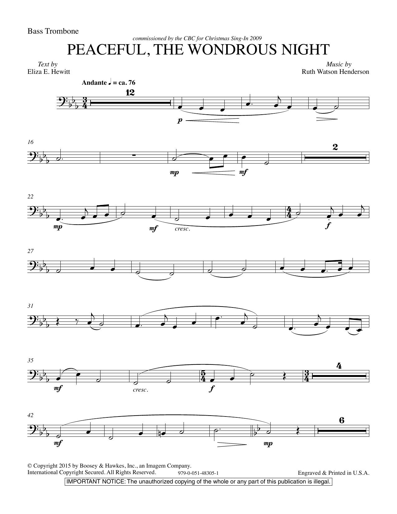 Peaceful the Wondrous Night - Bass Trombone (Choir Instrumental Pak)