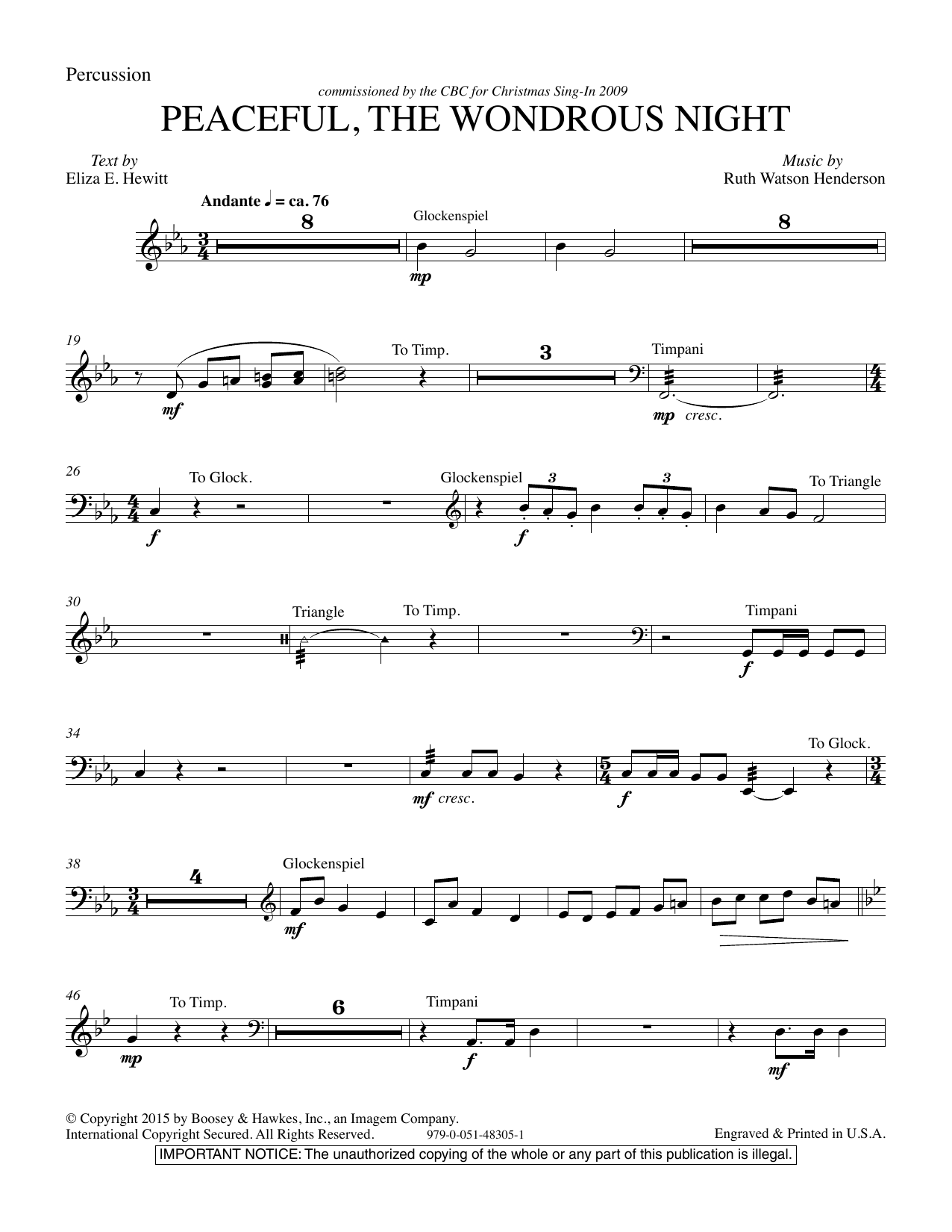Peaceful the Wondrous Night - Percussion (Choir Instrumental Pak)