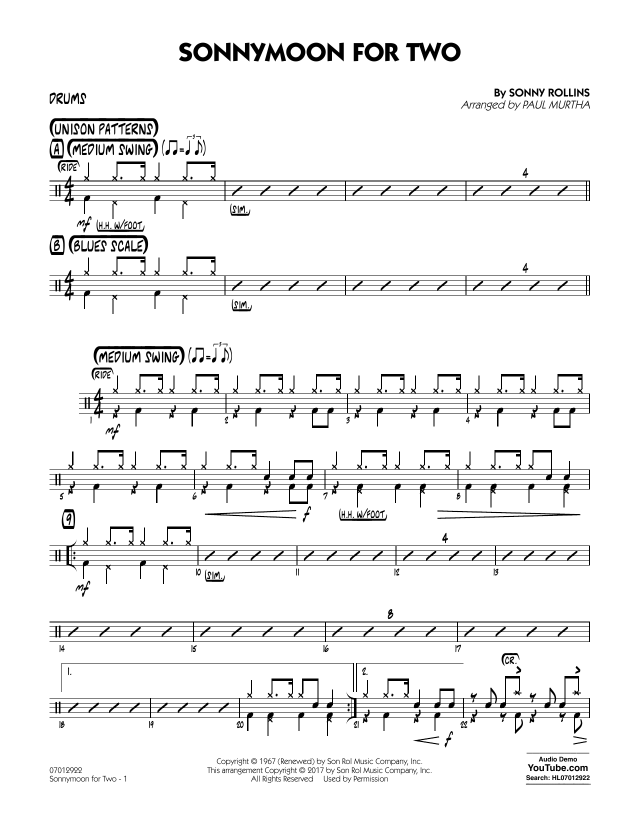 Sonnymoon for Two - Drums (Jazz Ensemble)