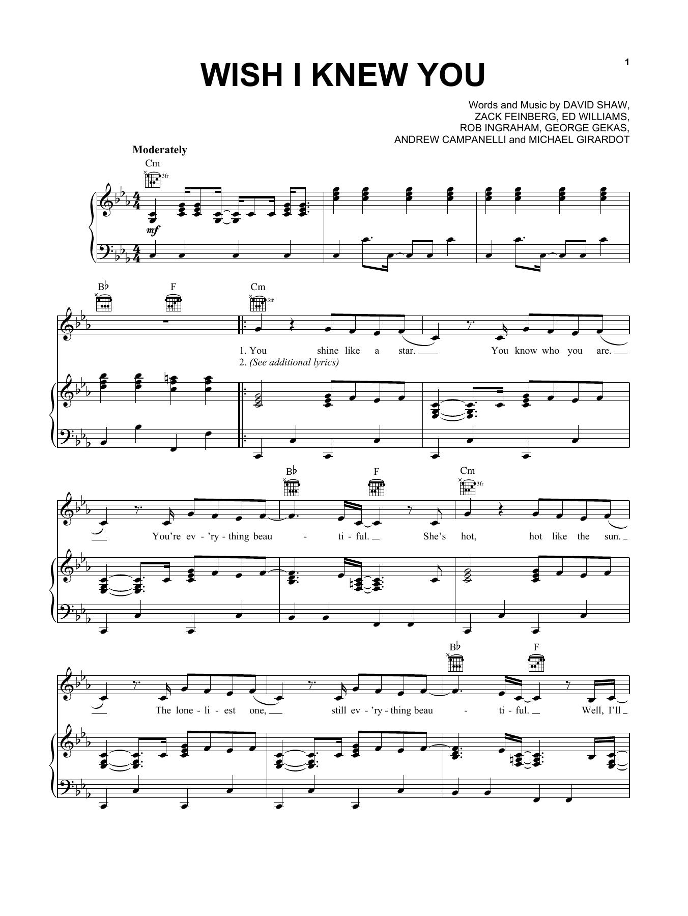 Partition piano Wish I Knew You de The Revivalists - Piano Voix Guitare (Mélodie Main Droite)