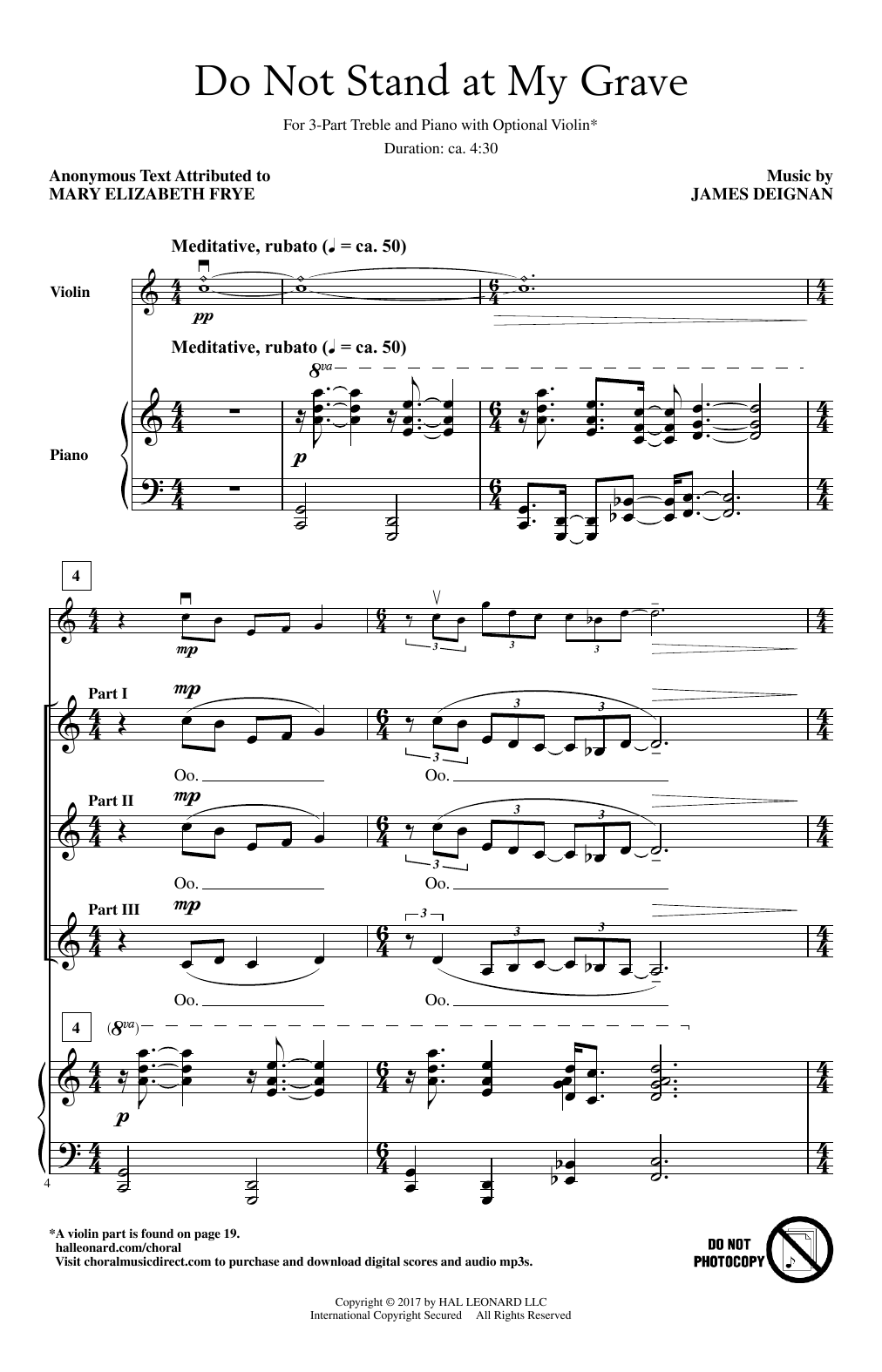 Do Not Stand At My Grave Sheet Music