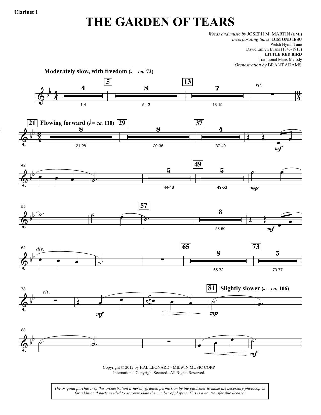 The Garden of Tears - Bb Clarinet 1 (Choir Instrumental Pak)