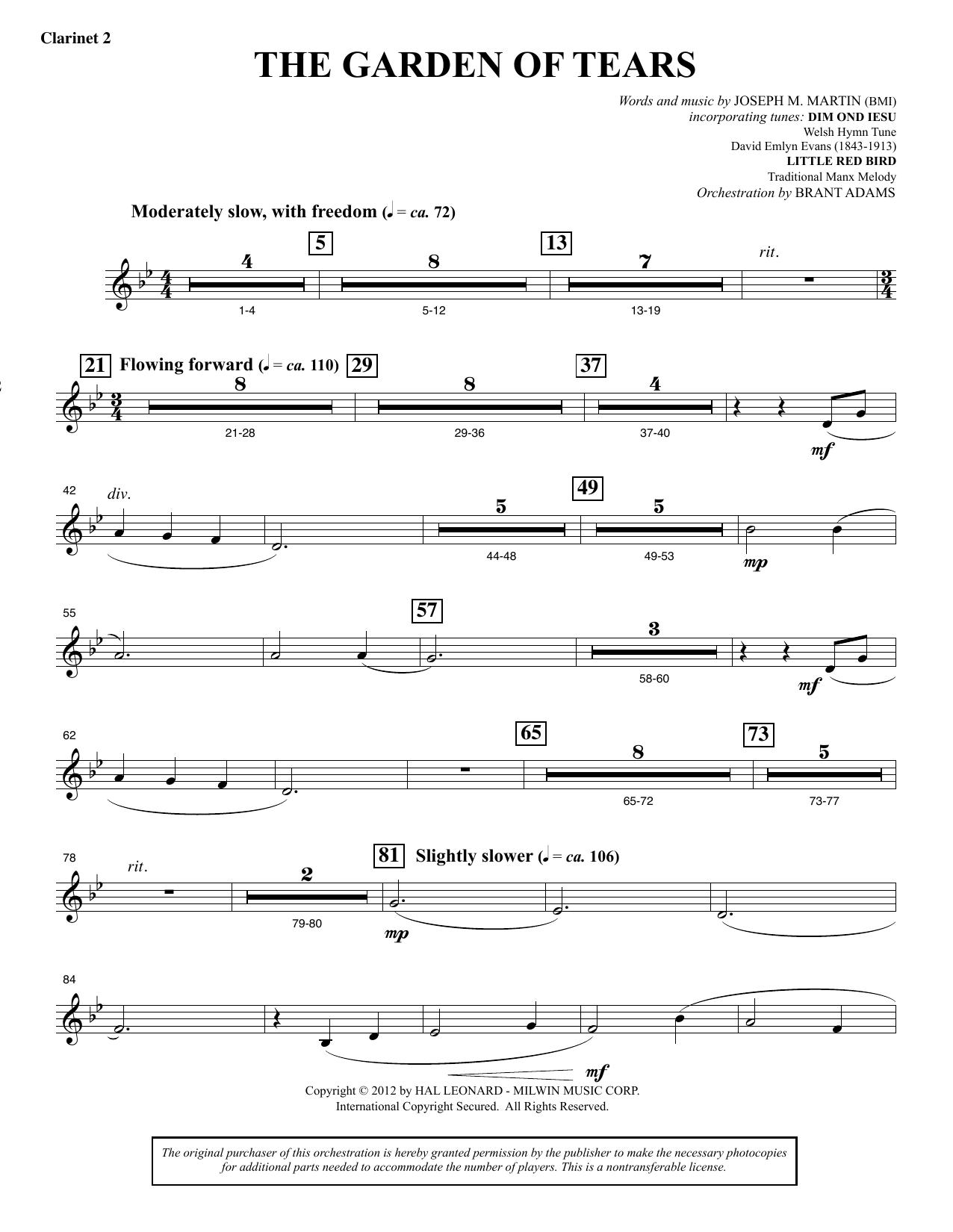The Garden of Tears - Bb Clarinet 2 (Choir Instrumental Pak)