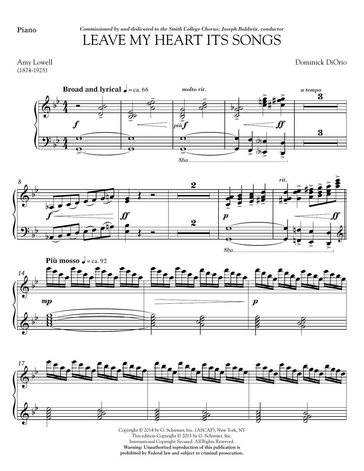 Leave My Heart Its Songs - Piano Sheet Music
