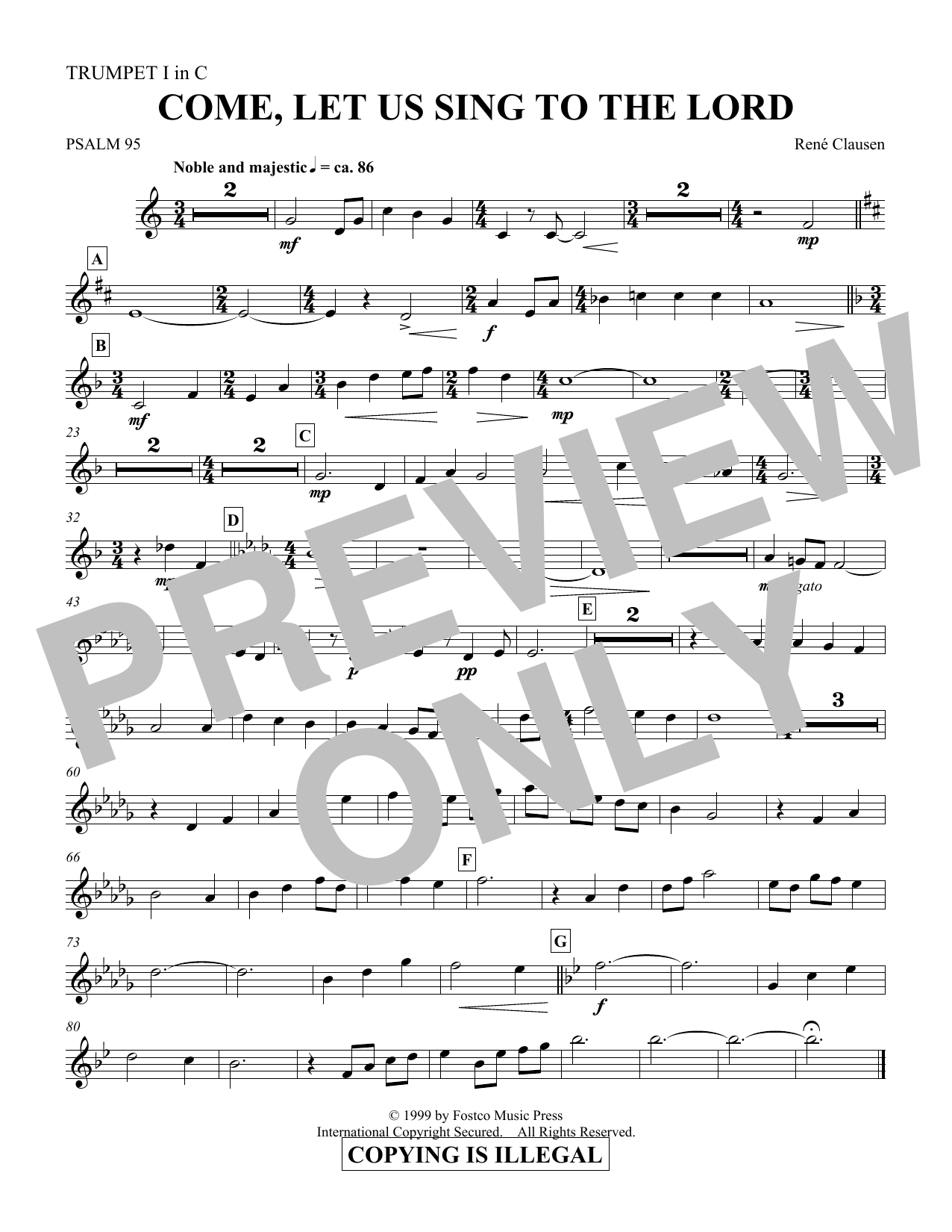 Come, Let Us Sing to the Lord - Trumpet 1 in C (Choir Instrumental Pak)