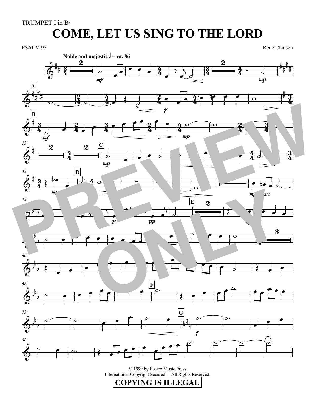Come, Let Us Sing to the Lord - Trumpet 1 in Bb (Choir Instrumental Pak)