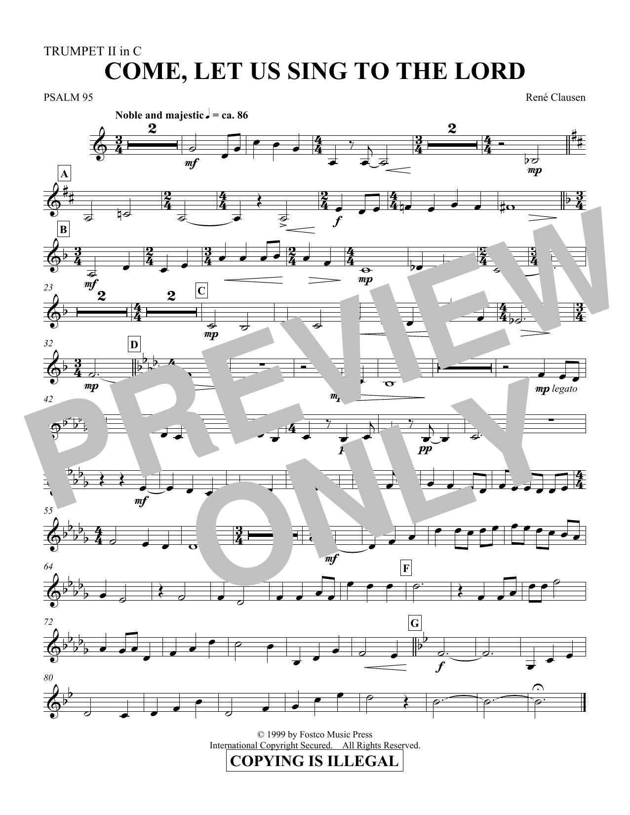 Come, Let Us Sing to the Lord - Trumpet 2 in C (Choir Instrumental Pak)