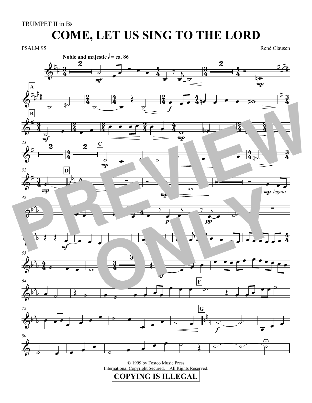 Come, Let Us Sing to the Lord - Trumpet 2 in Bb (Choir Instrumental Pak)
