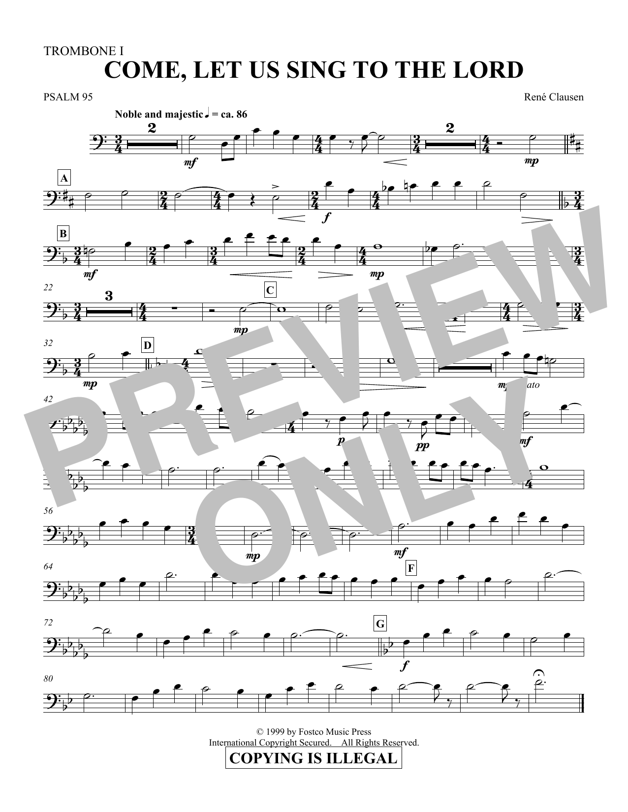 Come, Let Us Sing to the Lord - Trombone 1 (Choir Instrumental Pak)
