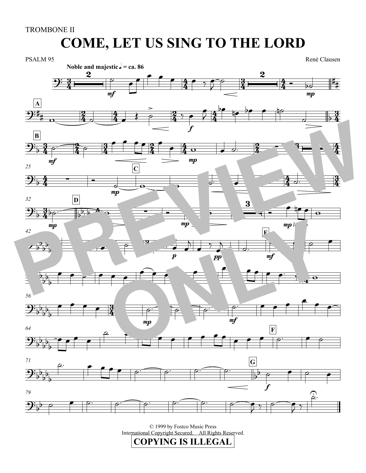 Come, Let Us Sing to the Lord - Trombone 2 (Choir Instrumental Pak)
