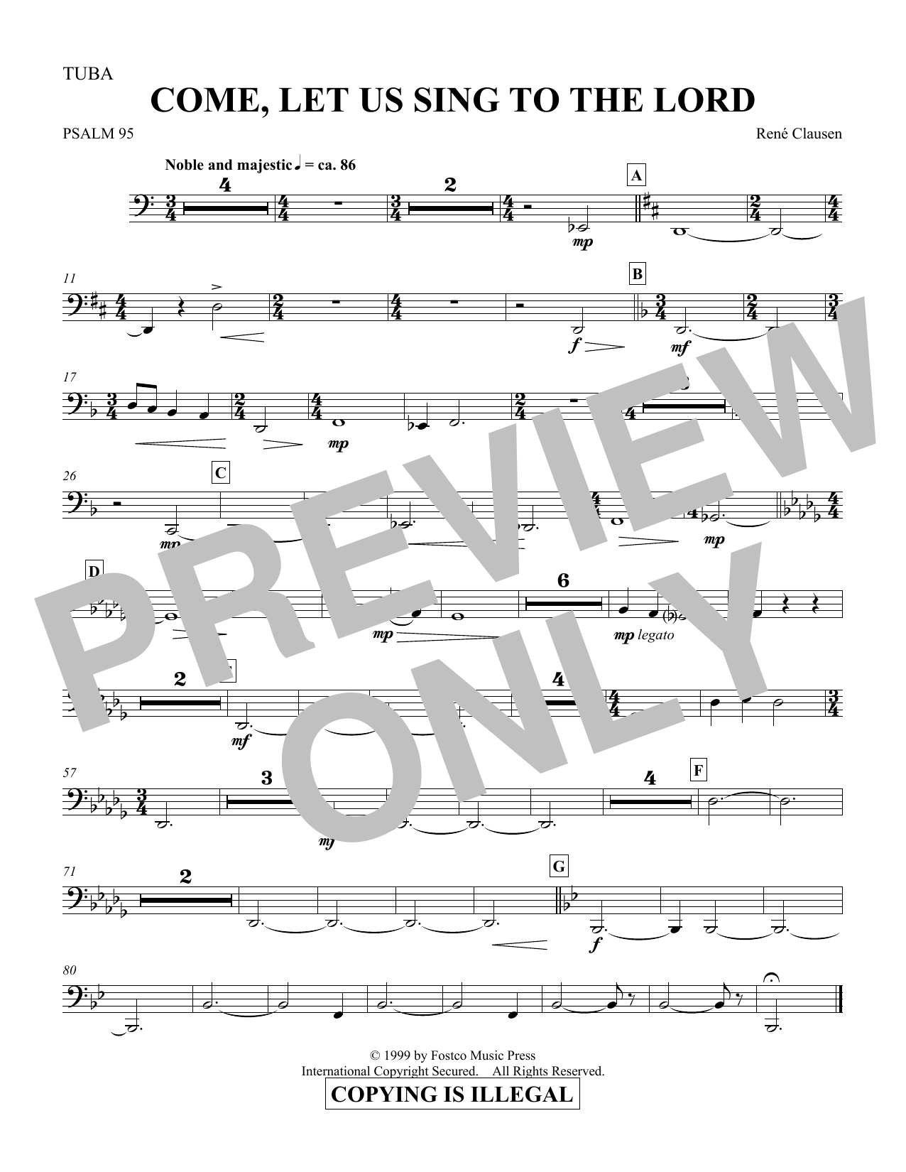 Come, Let Us Sing to the Lord - Tuba (Choir Instrumental Pak)