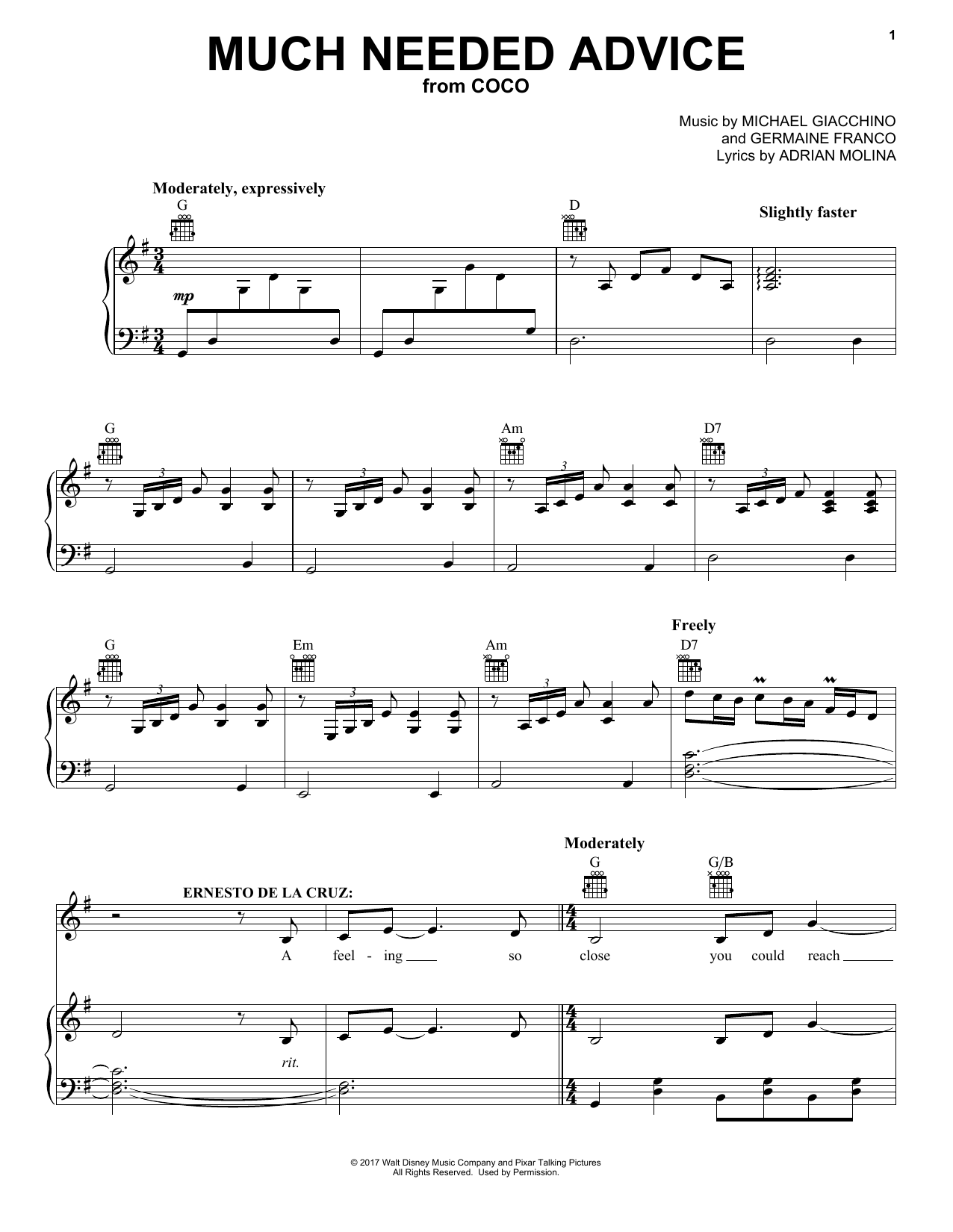 Much Needed Advice (from Coco) (Piano, Vocal & Guitar (Right-Hand Melody))