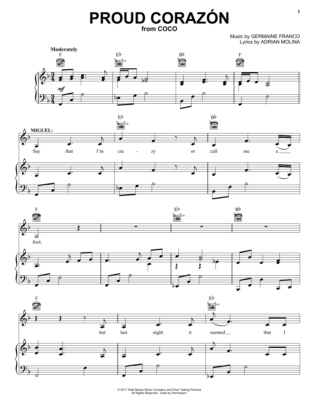 Proud Corazon (from Coco) (Piano, Vocal & Guitar (Right-Hand Melody))