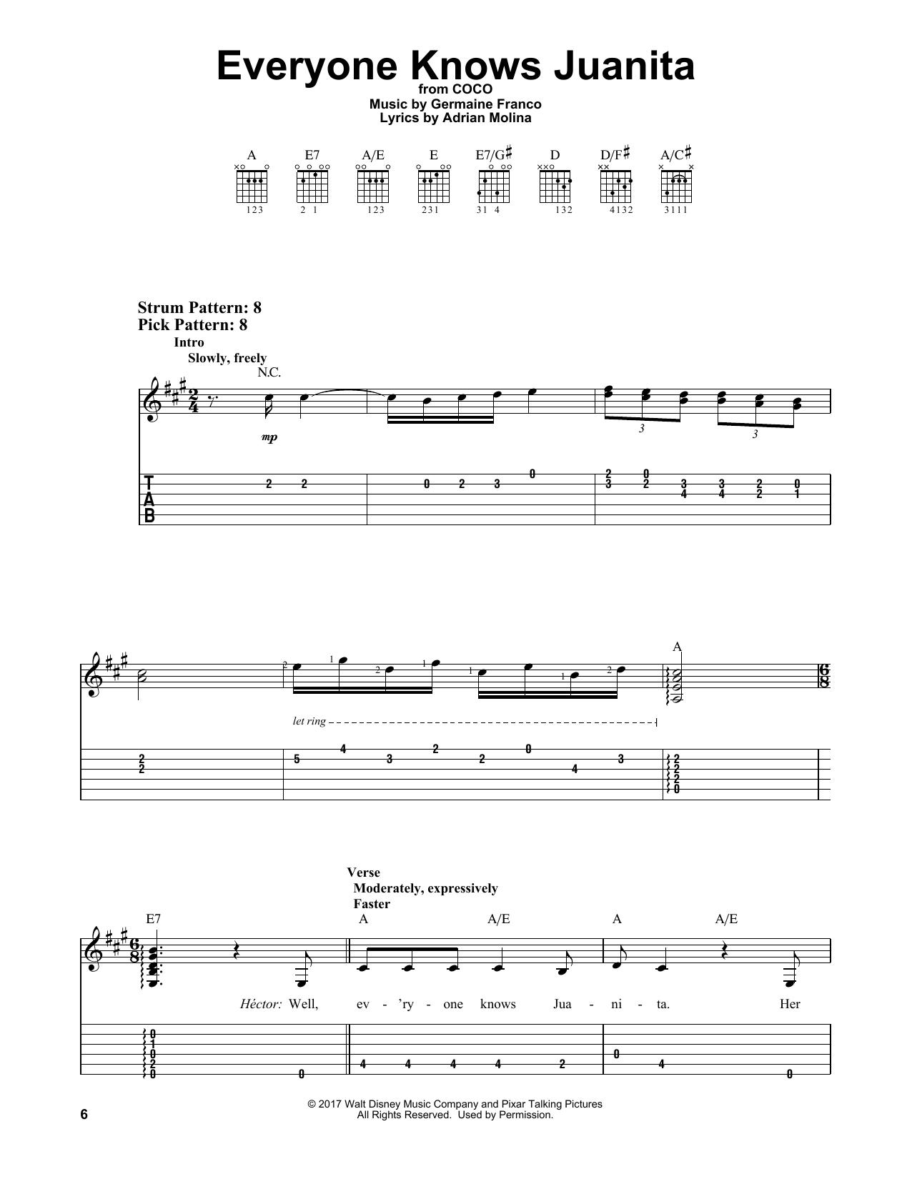 Everyone Knows Juanita (from Coco) (Easy Guitar Tab)