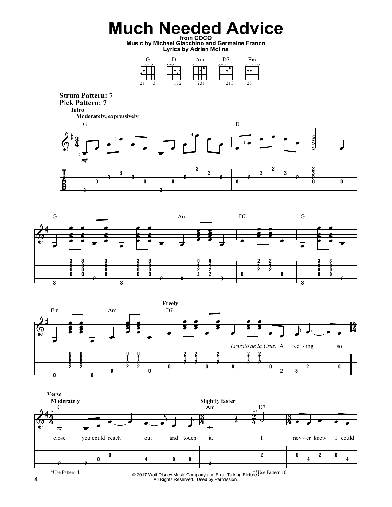 Much Needed Advice (from Coco) (Easy Guitar Tab)