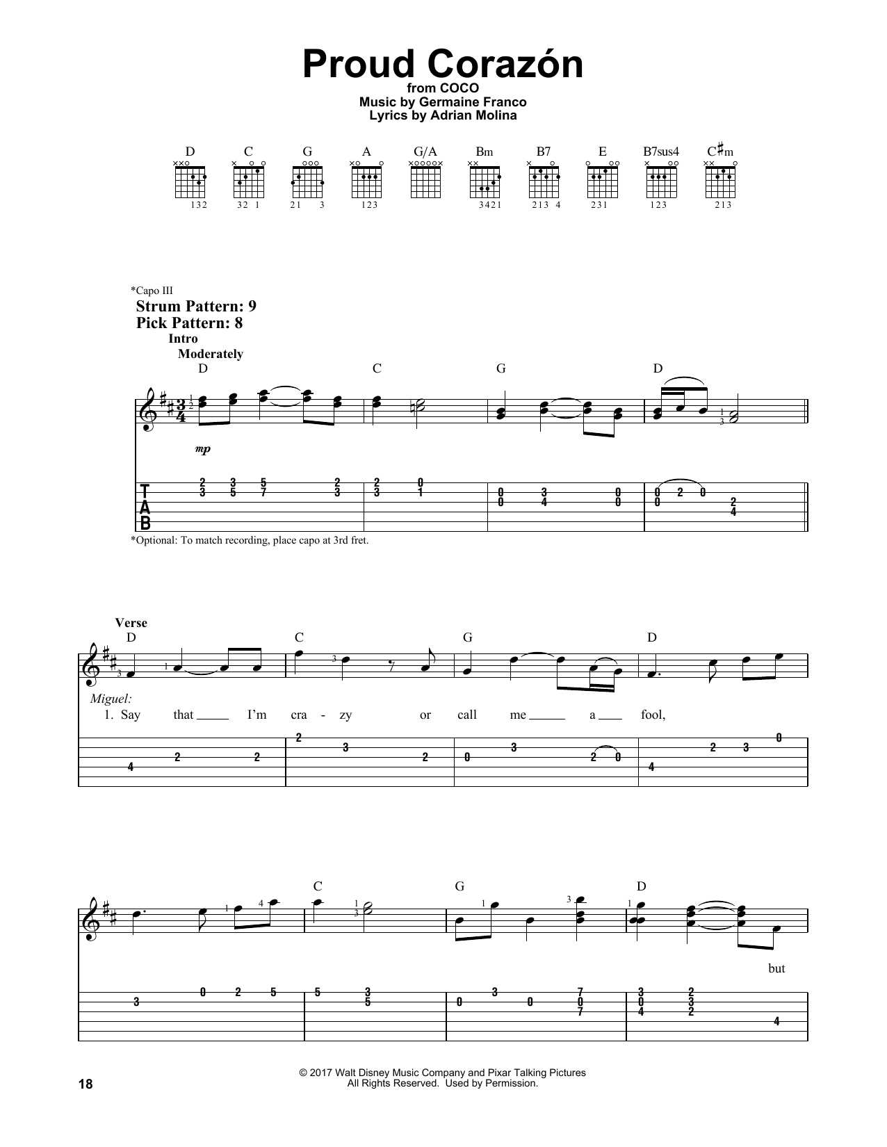 Proud Corazon (from Coco) (Easy Guitar Tab)