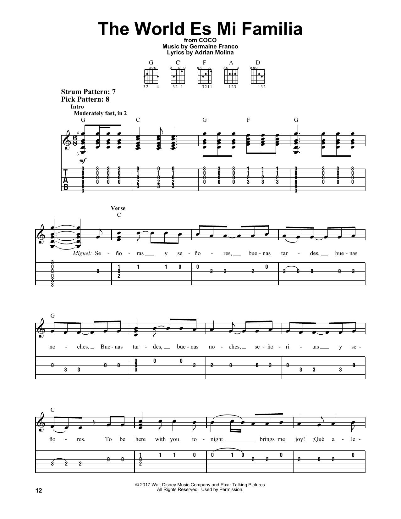 The World Es Mi Familia (from Coco) (Easy Guitar Tab)