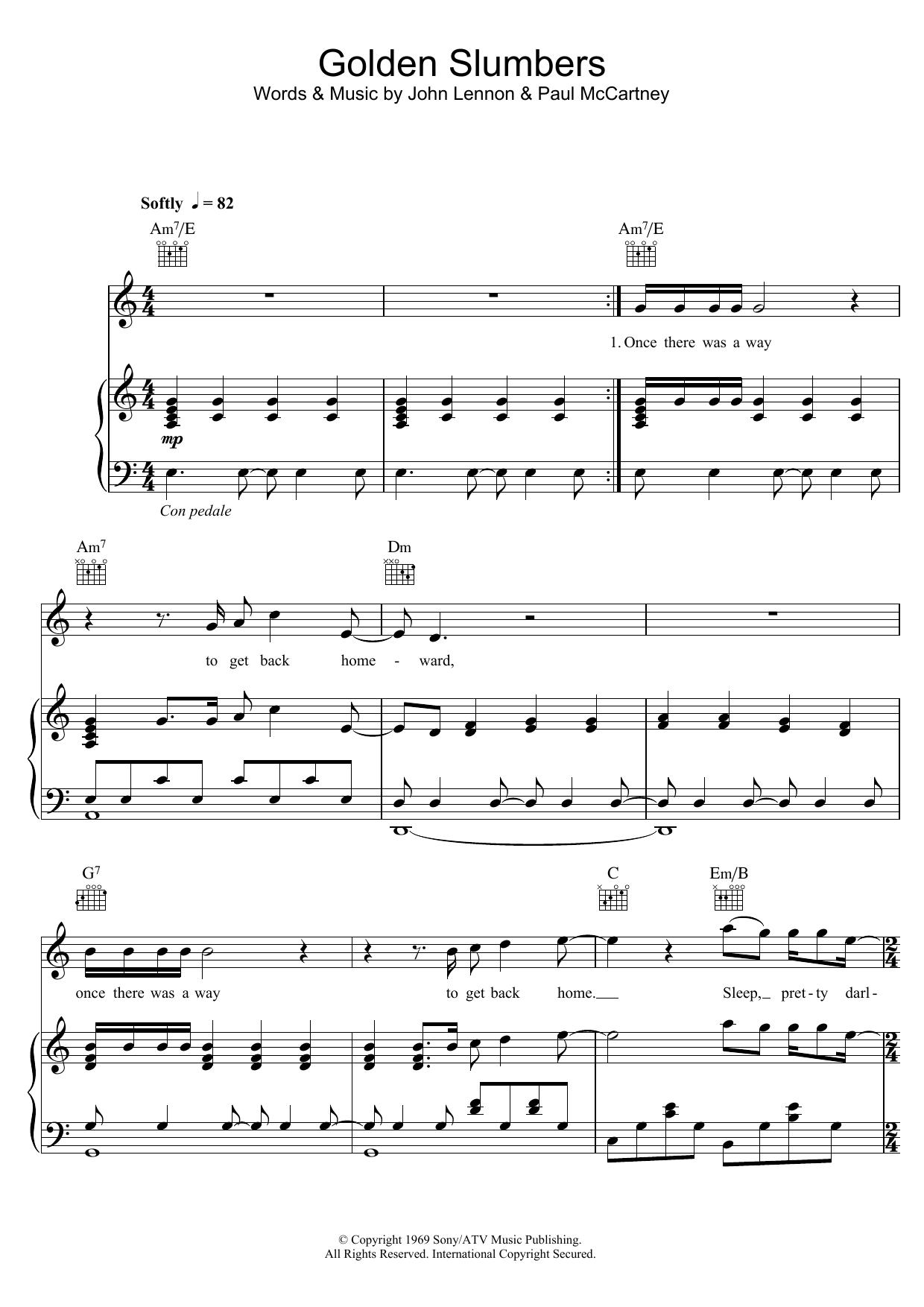 Golden Slumbers (Piano, Vocal & Guitar)