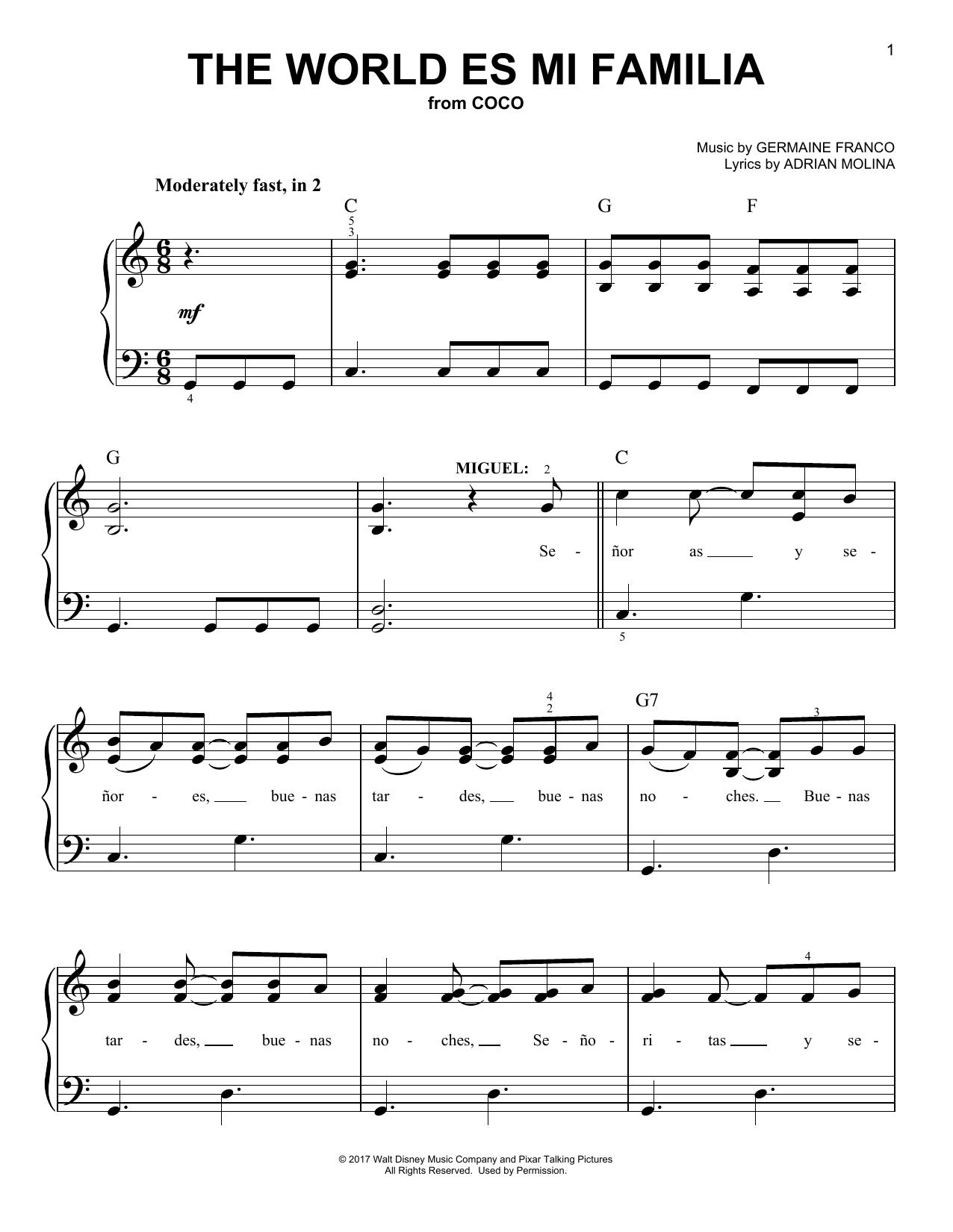 The World Es Mi Familia (from Coco) (Easy Piano)