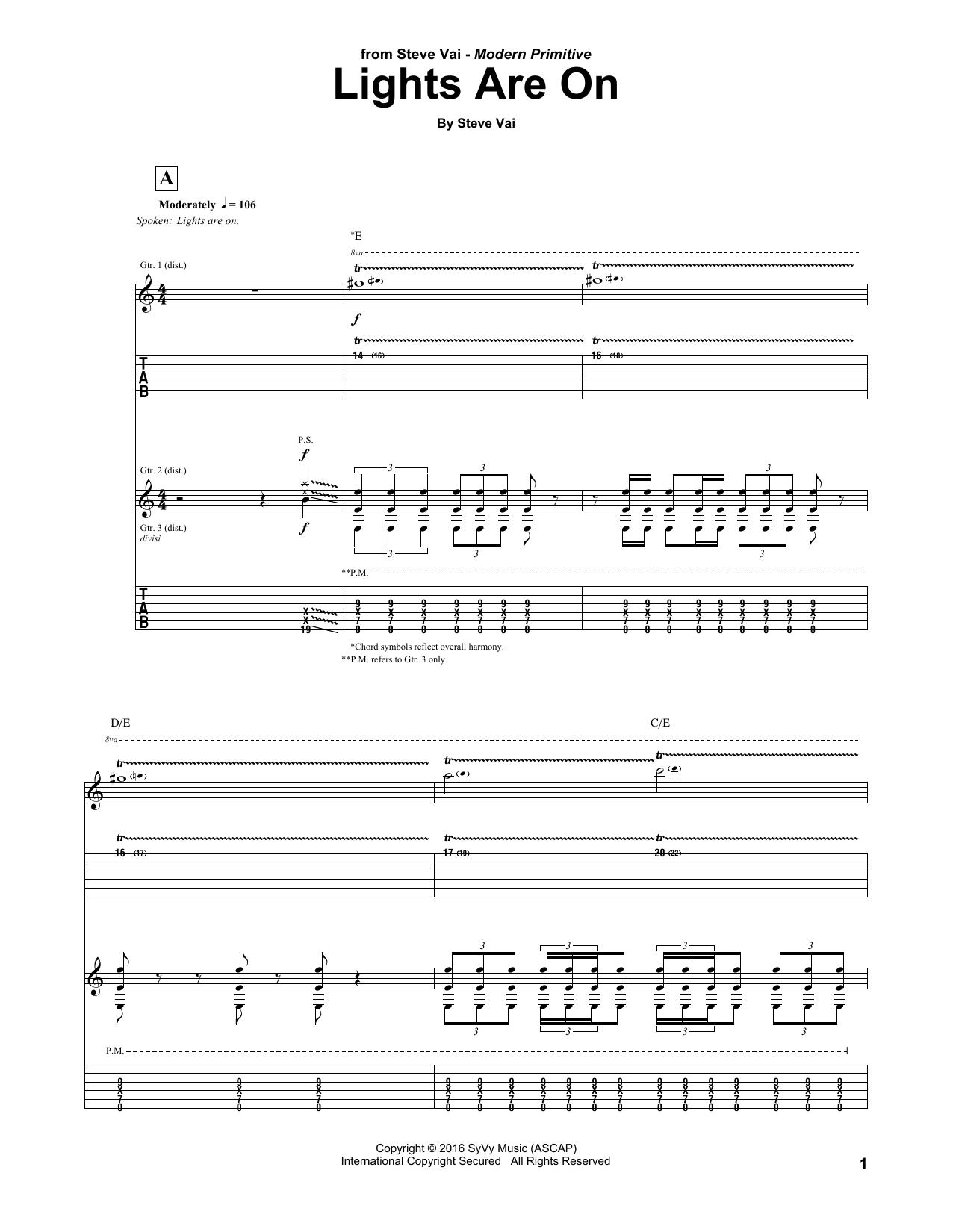 Lights Are On (Guitar Tab)