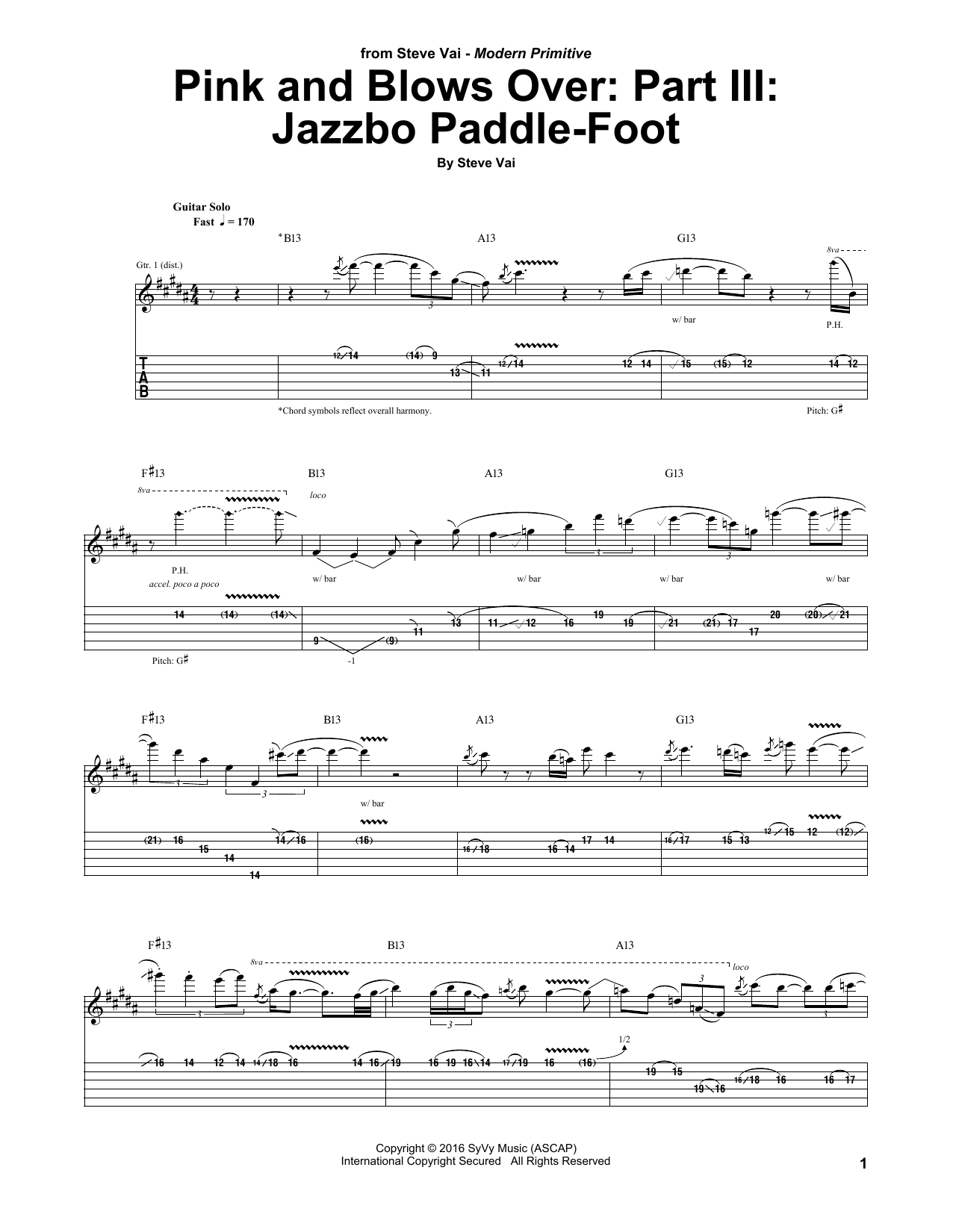 Pink And Blows Over: Part III: Jazzbo Paddle-Foot (Guitar Tab)