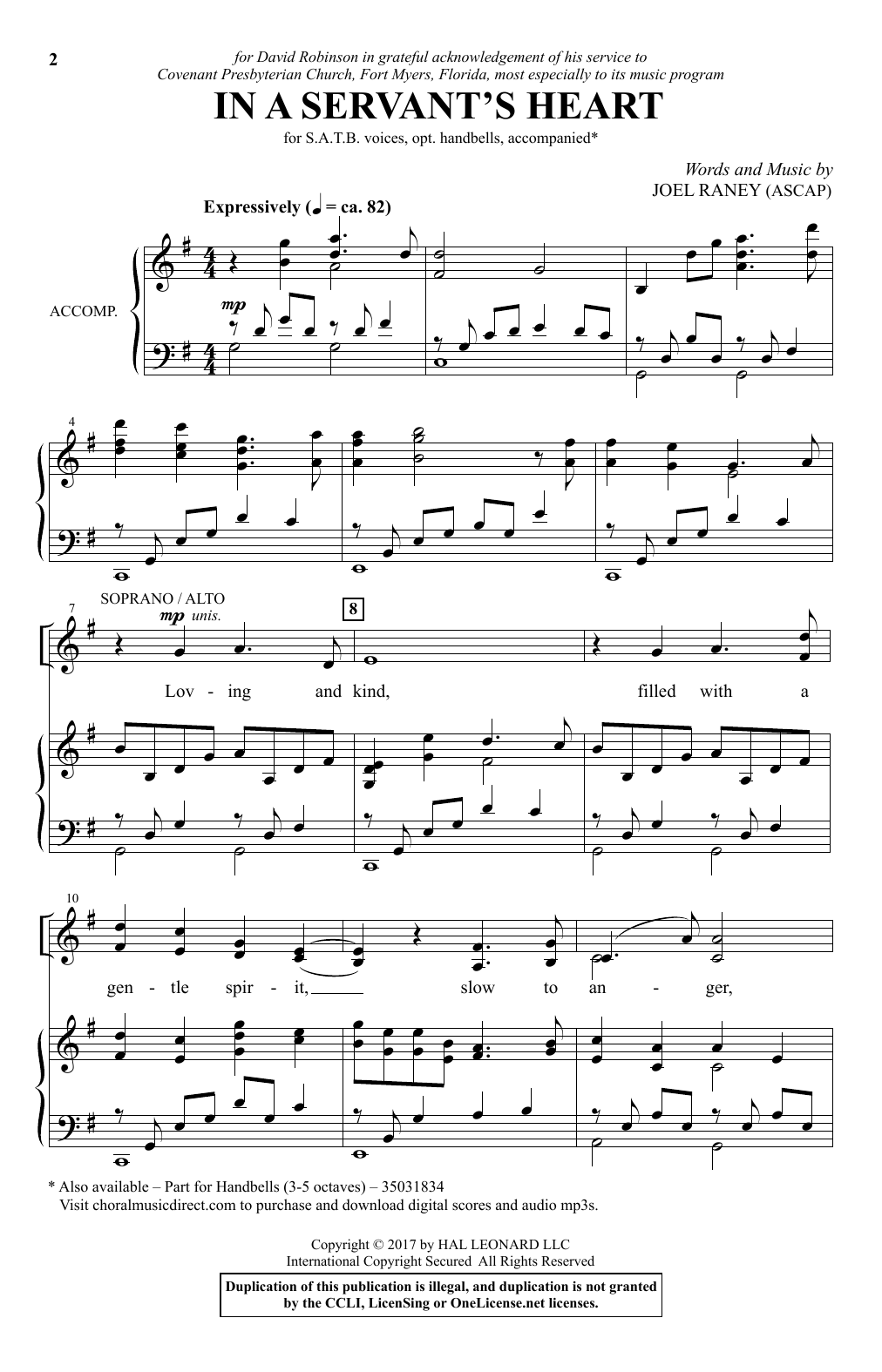 Partition chorale In A Servant's Heart de Joel Raney - SATB