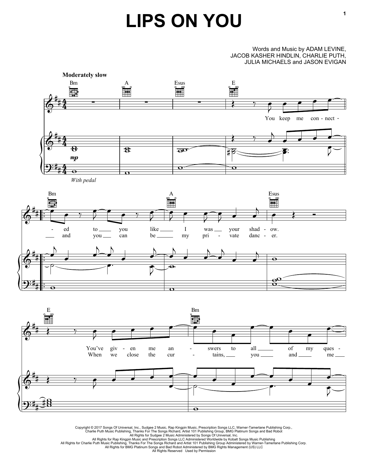 Lips On You (Piano, Vocal & Guitar (Right-Hand Melody))