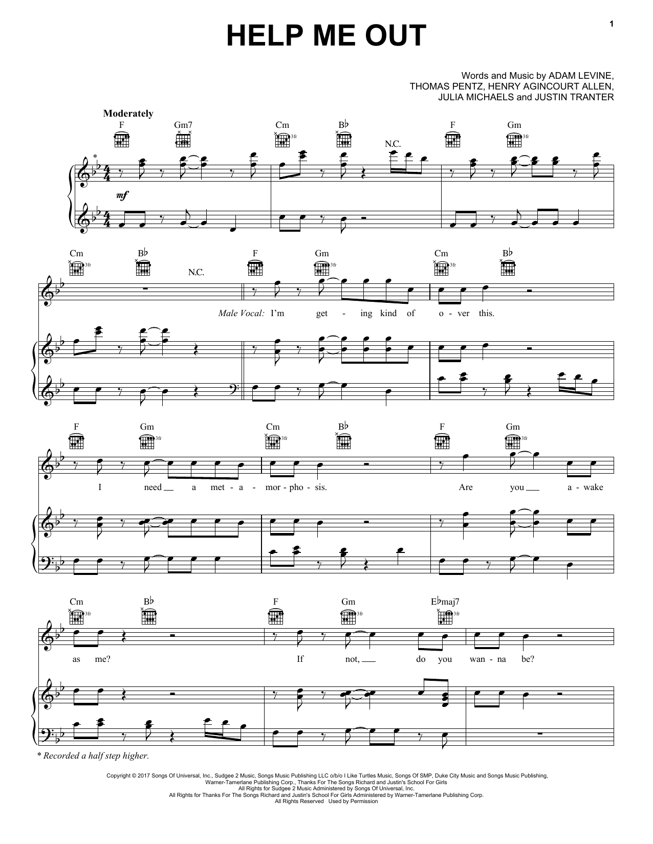 Help Me Out (Piano, Vocal & Guitar (Right-Hand Melody))