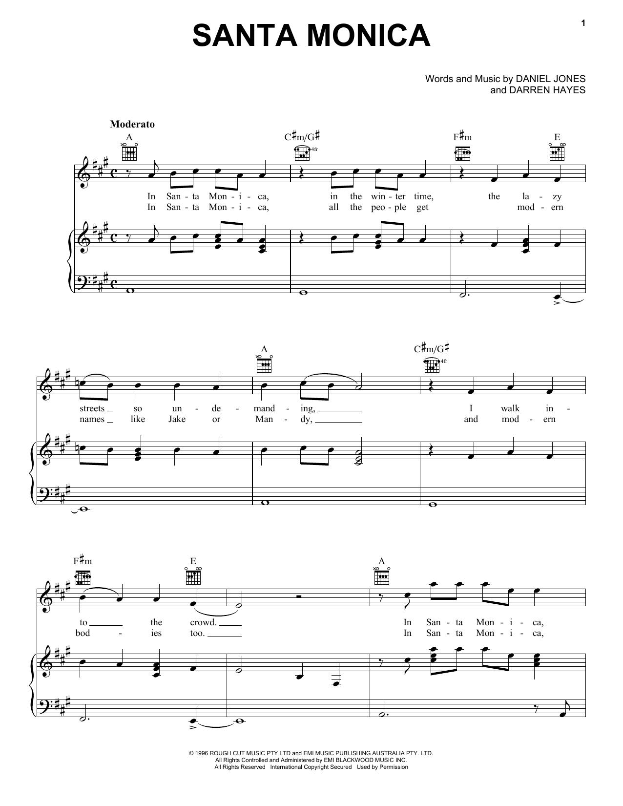 Santa Monica (Piano, Vocal & Guitar (Right-Hand Melody))