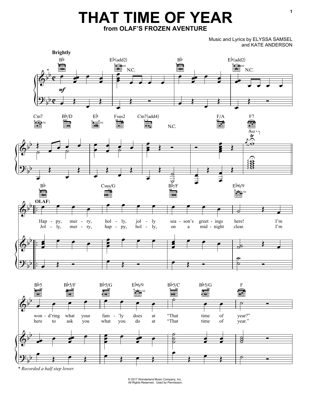 That Time Of Year (Piano, Vocal & Guitar (Right-Hand Melody))