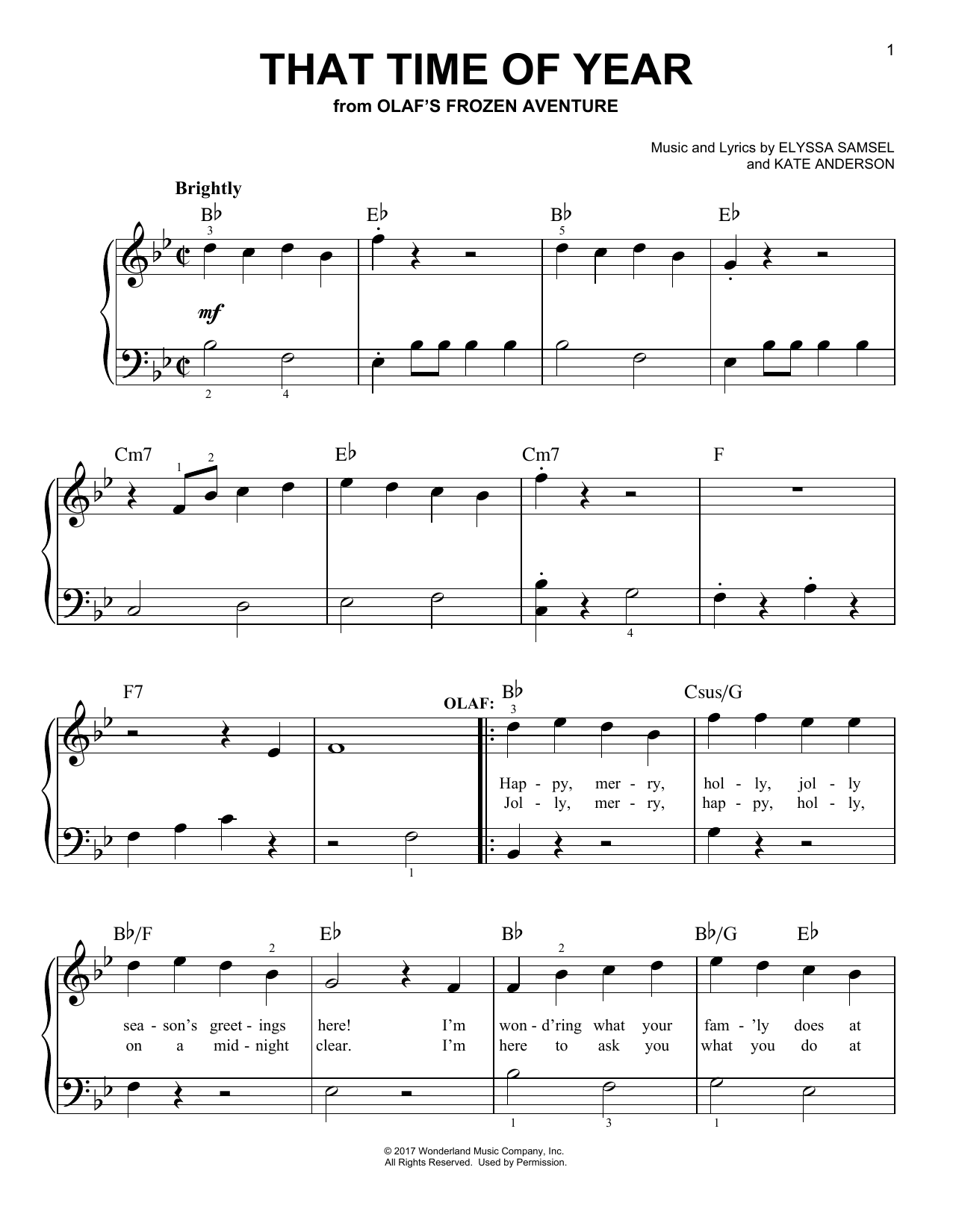 That Time Of Year (from Olaf's Frozen Adventure) (Easy Piano)