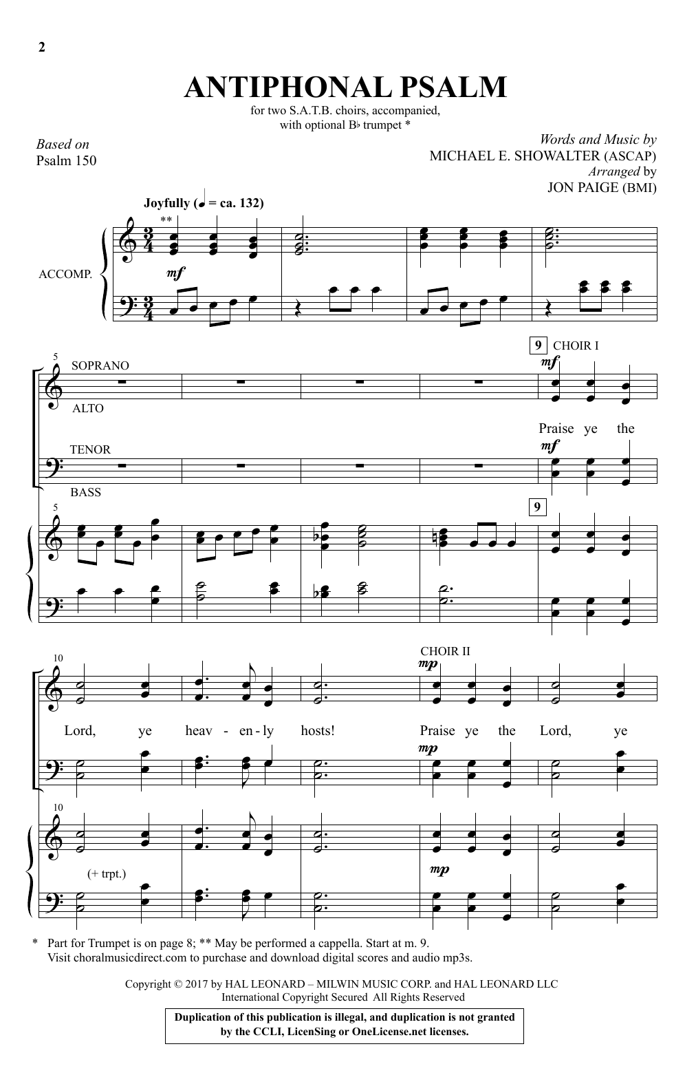 Antiphonal Psalm Sheet Music