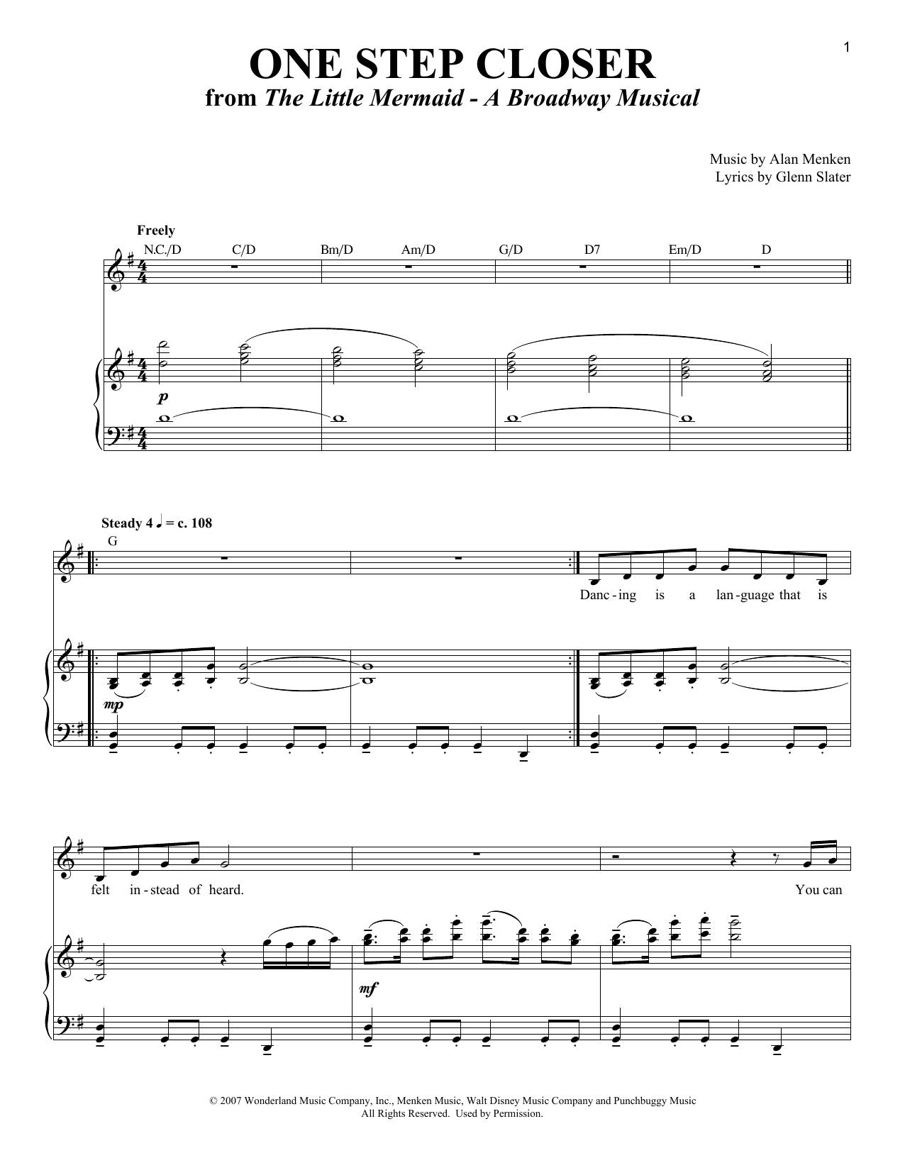 One Step Closer (Piano & Vocal)