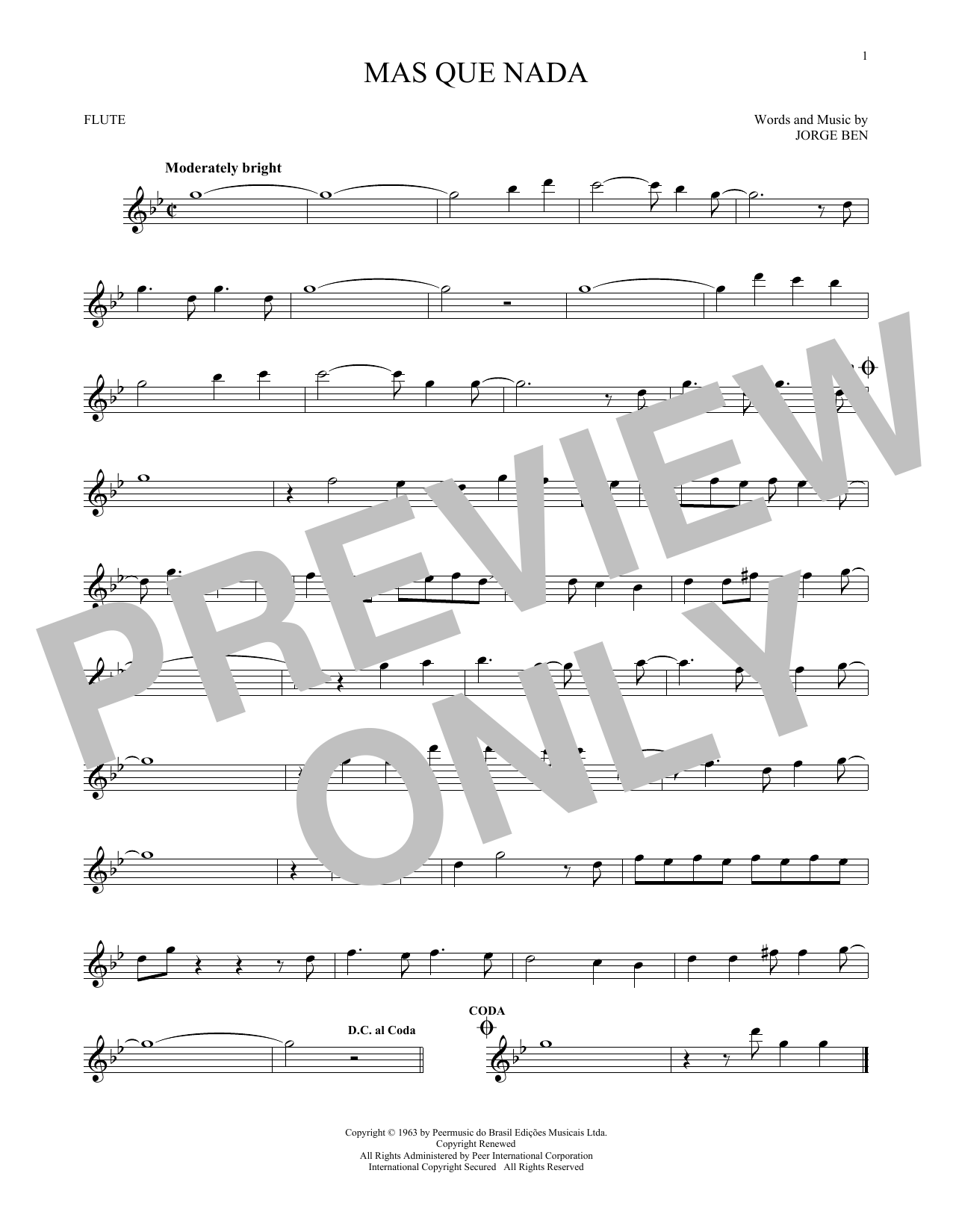 Mas Que Nada (Flute Solo)