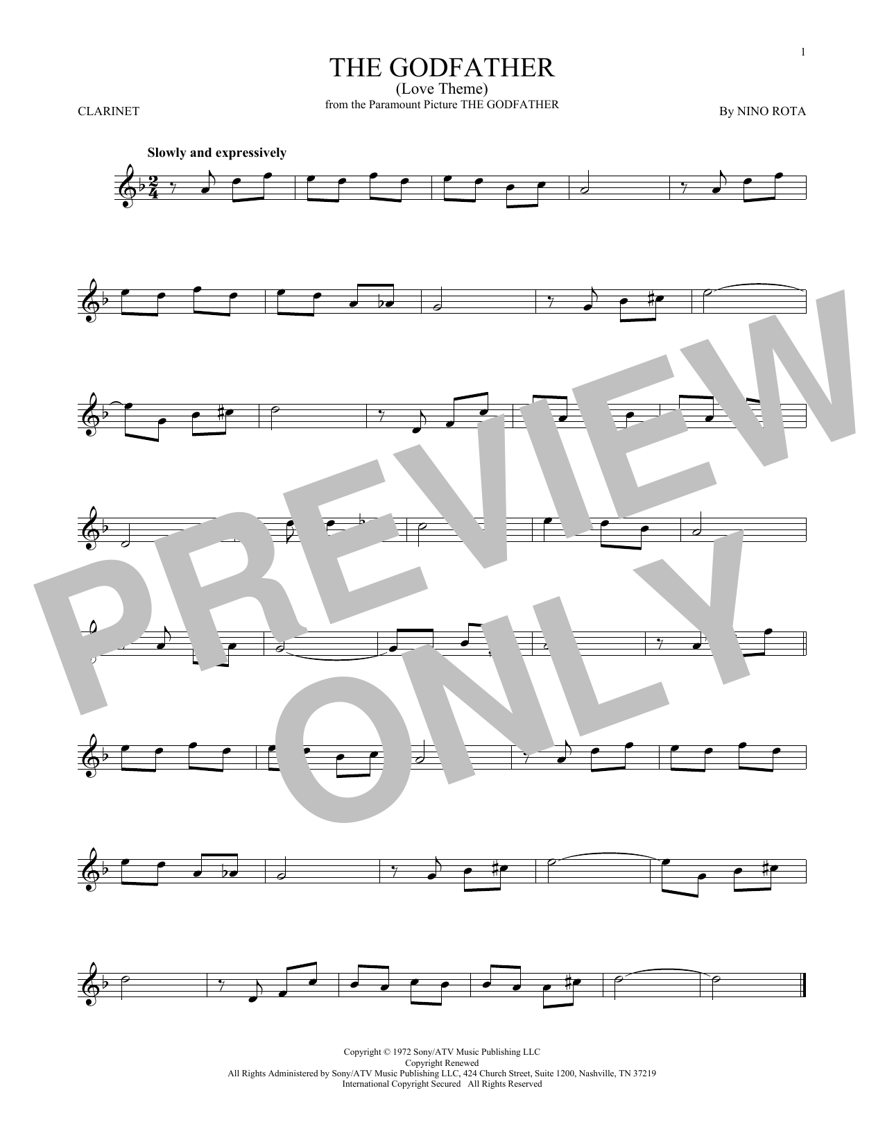 The Godfather (Love Theme) (Clarinet Solo)