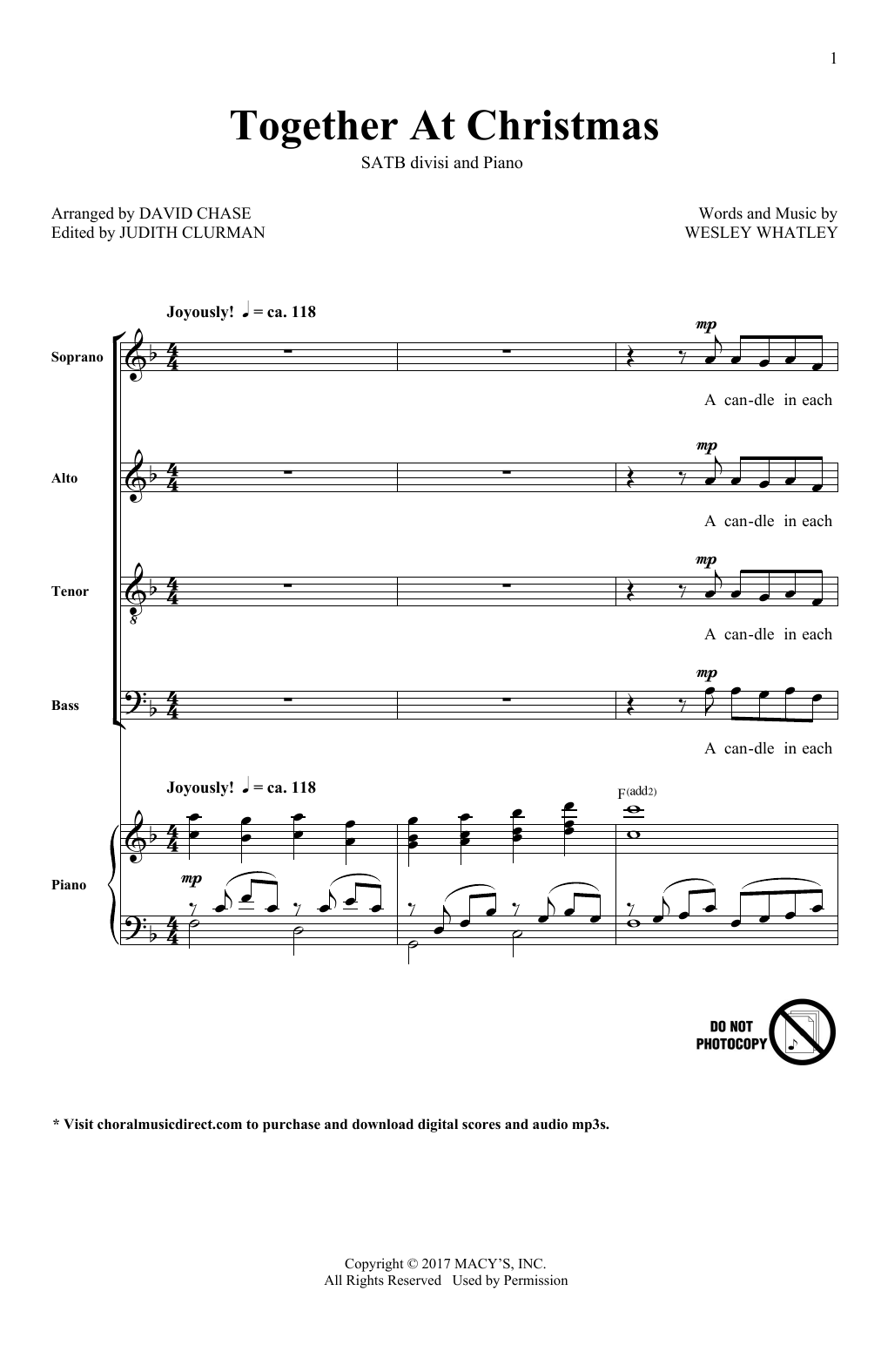 Together At Christmas Sheet Music