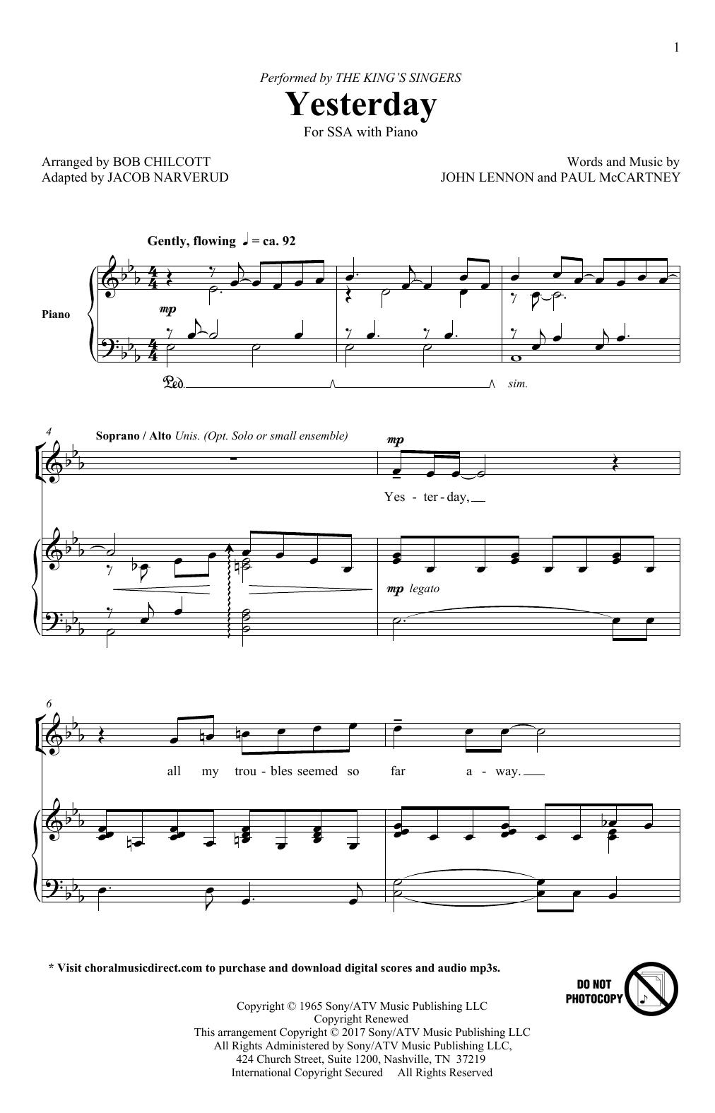 Yesterday (adapt. Jacob Narverud) Sheet Music