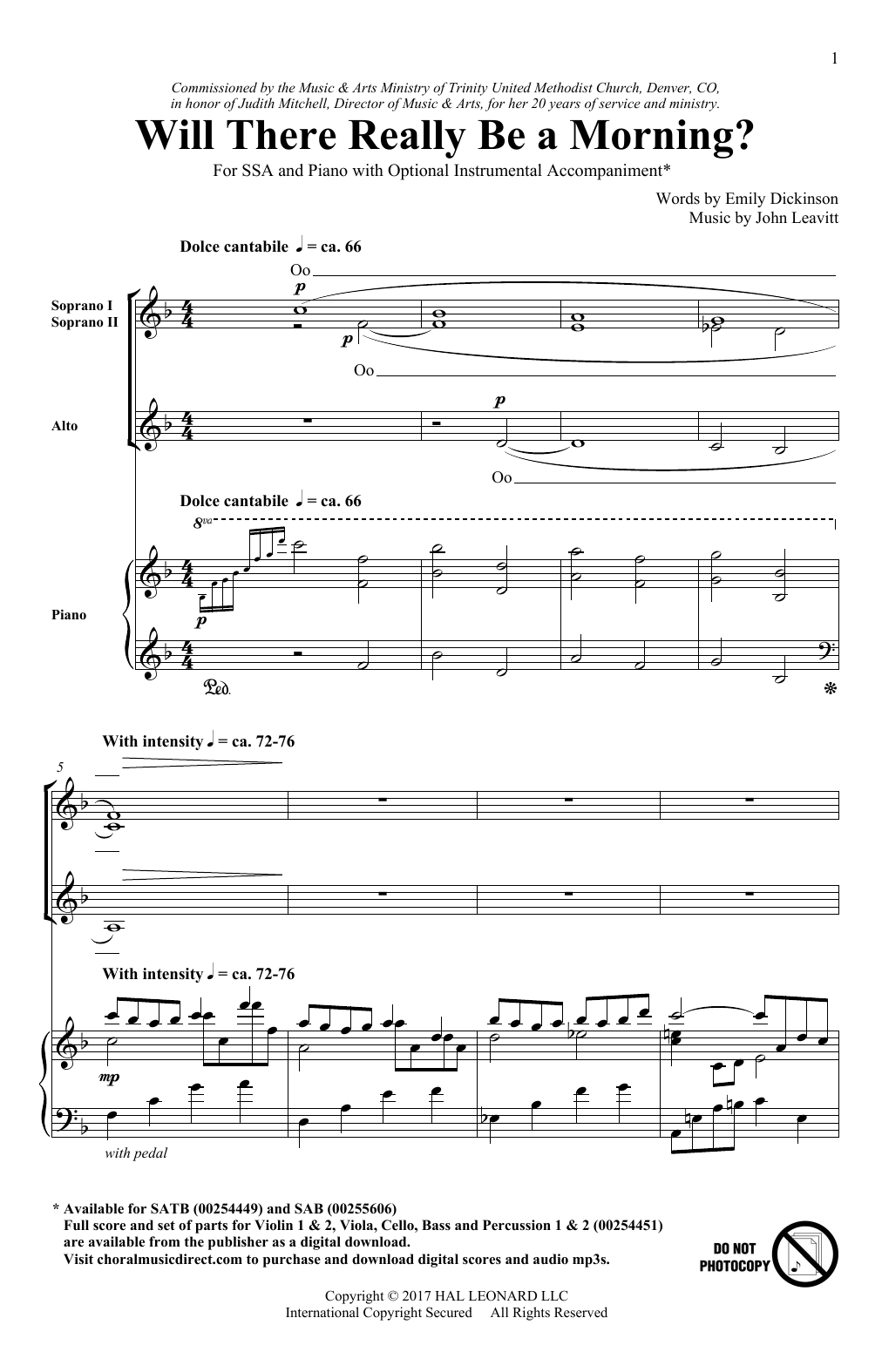 Will There Really Be A Morning? Sheet Music