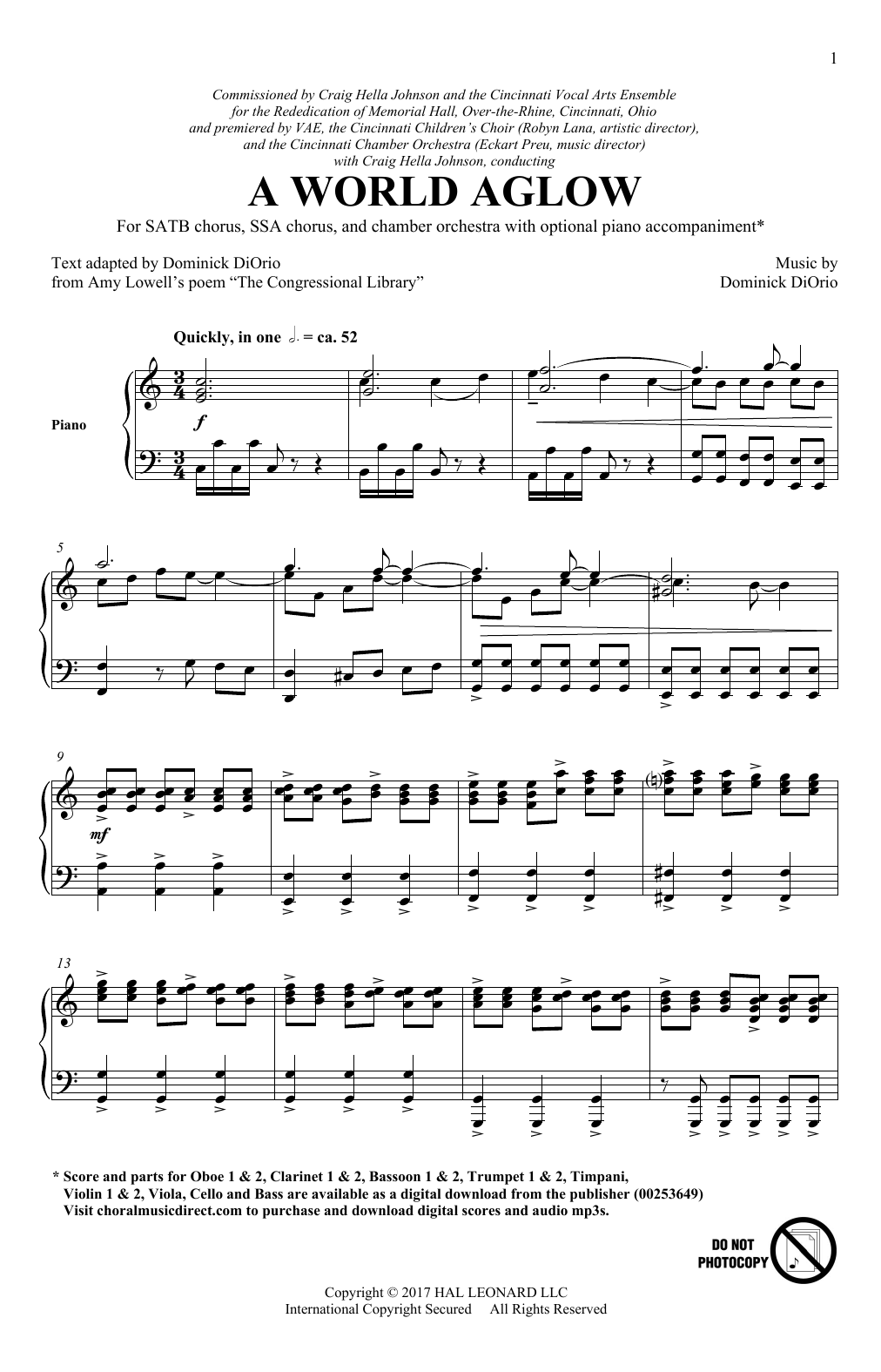 A World Aglow Sheet Music