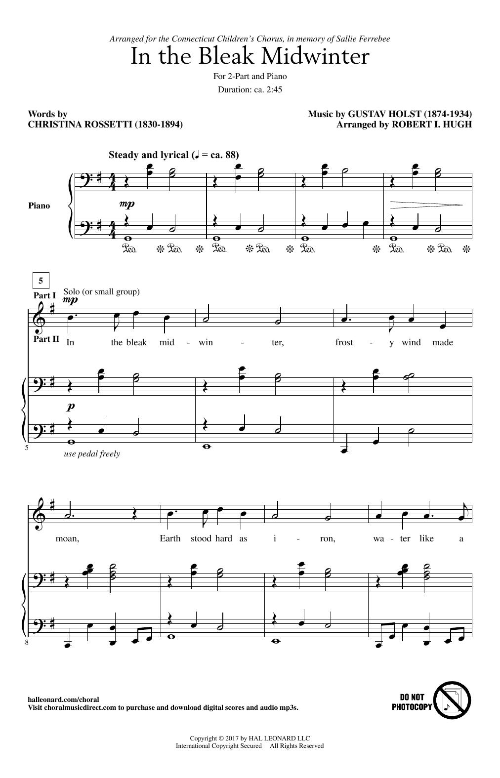 In The Bleak Midwinter Sheet Music Robert I Hugh 2 Part Choir