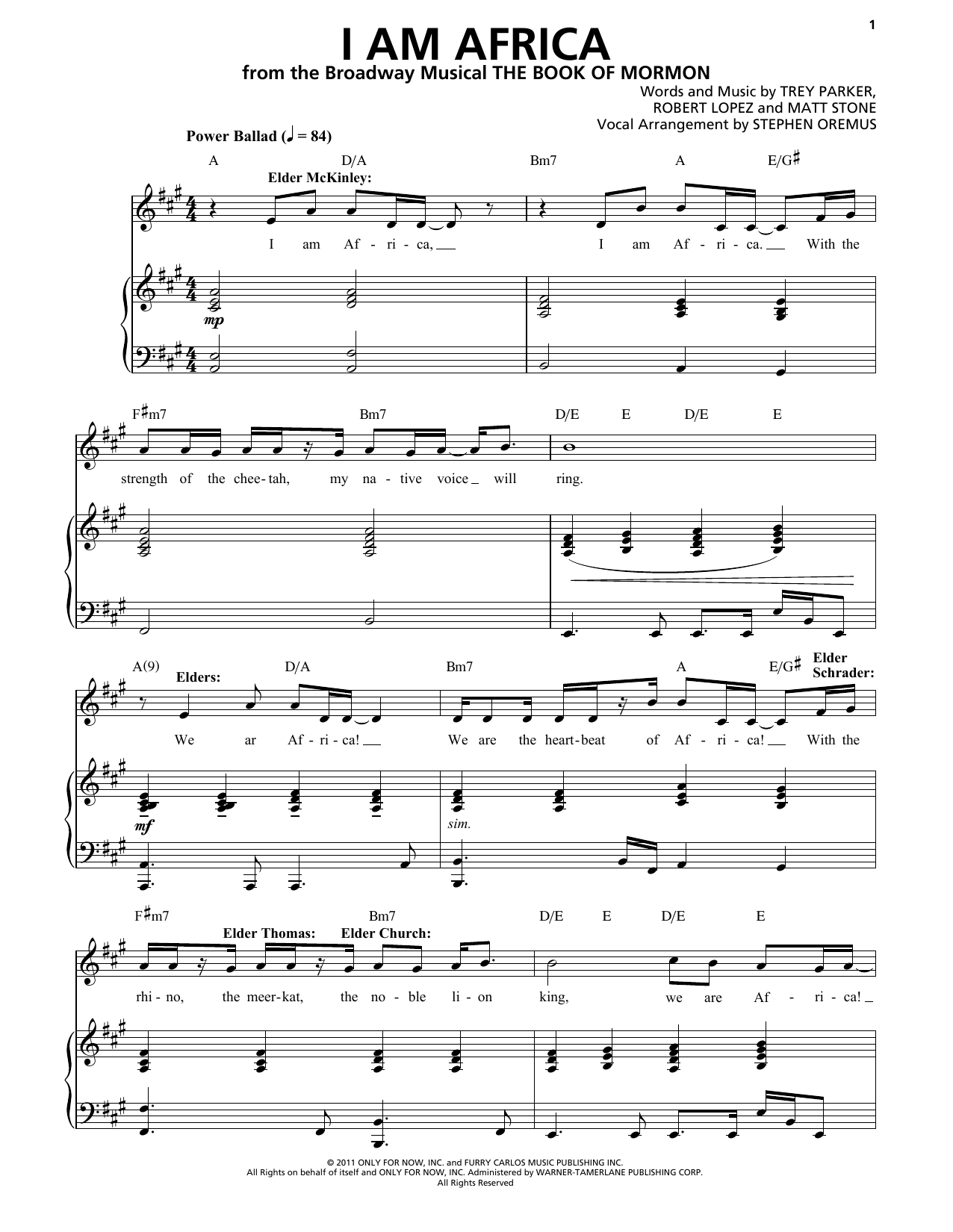 I Am Africa (from The Book of Mormon) Sheet Music
