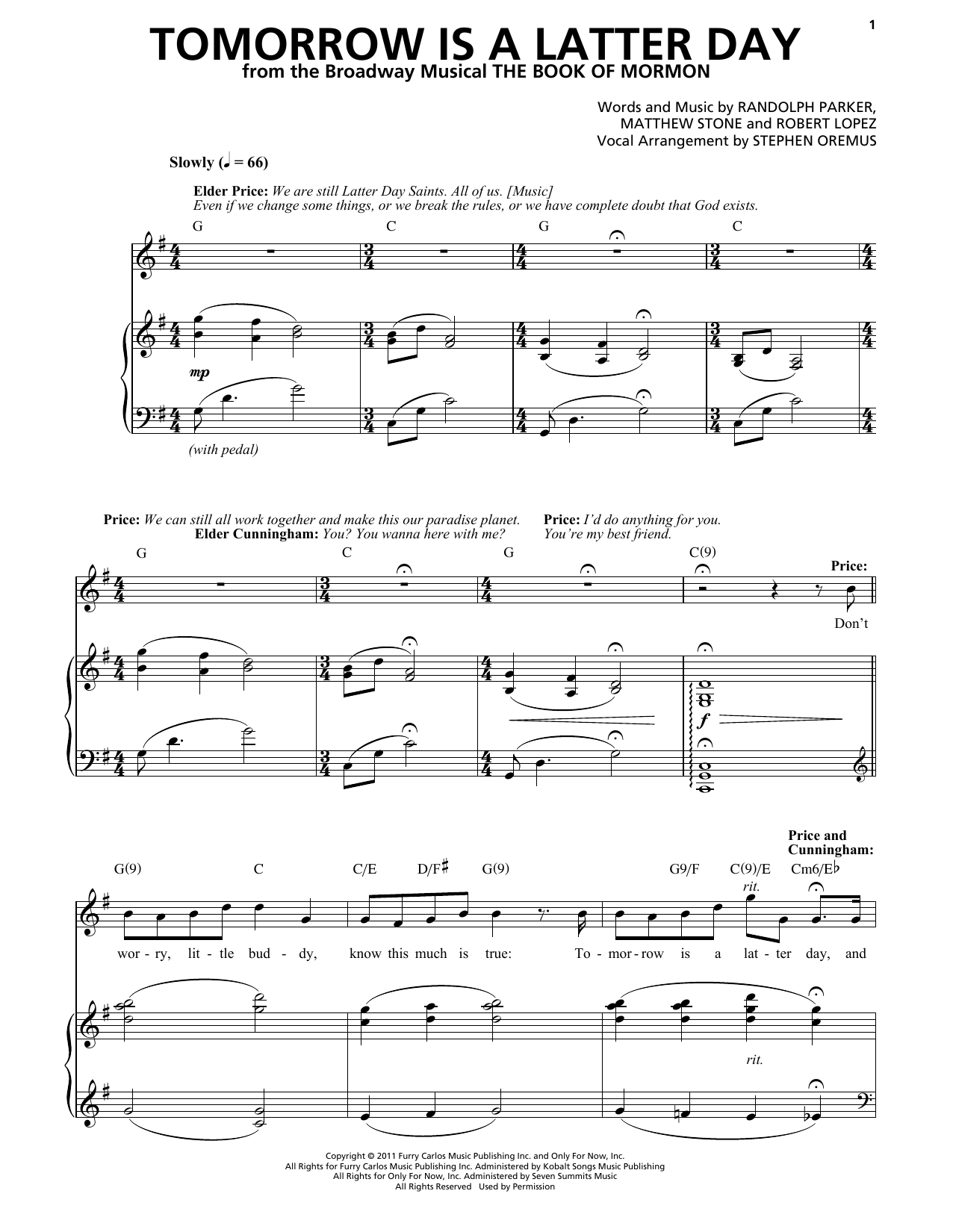 Tomorrow Is A Latter Day (from The Book of Mormon) Sheet Music