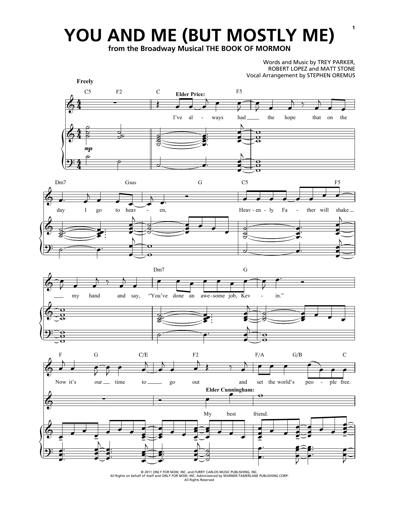 You And Me (But Mostly Me) (from The Book of Mormon) Sheet Music